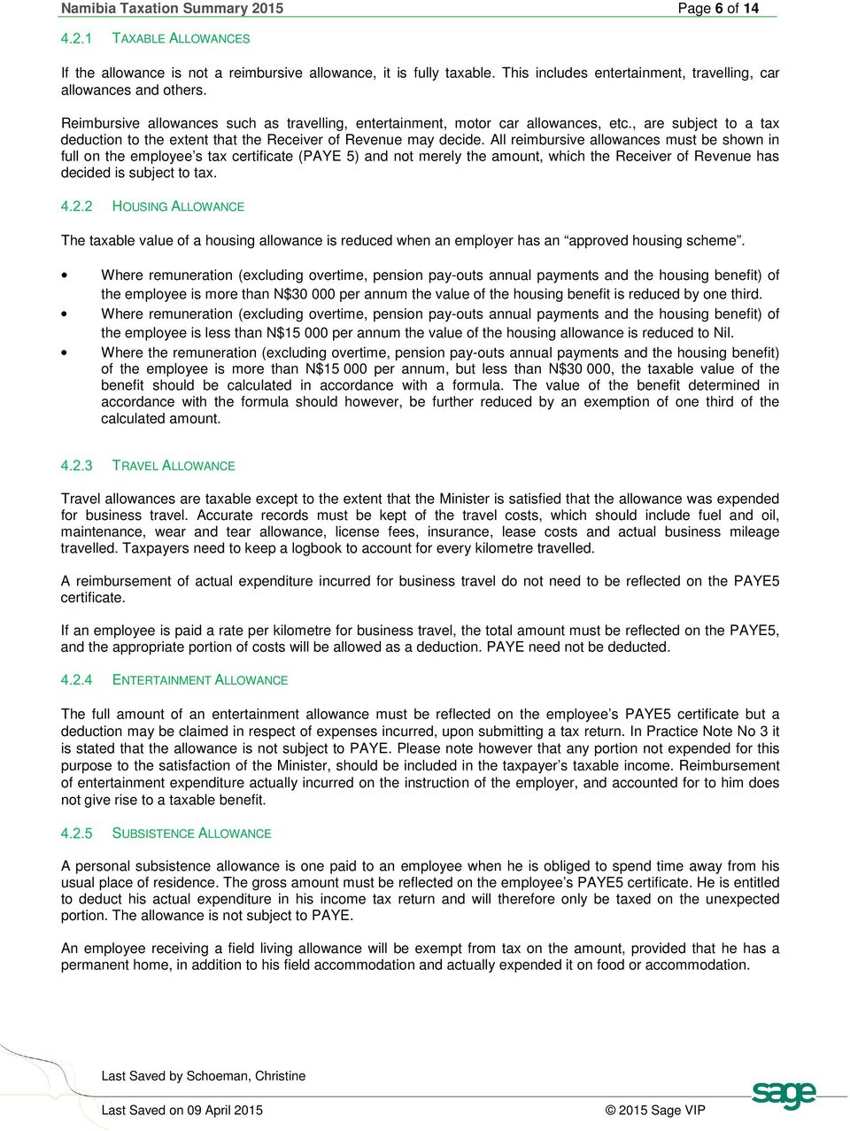 Namibia Taxation Summary 2015 Page 1 of 14  Sage HR Africa