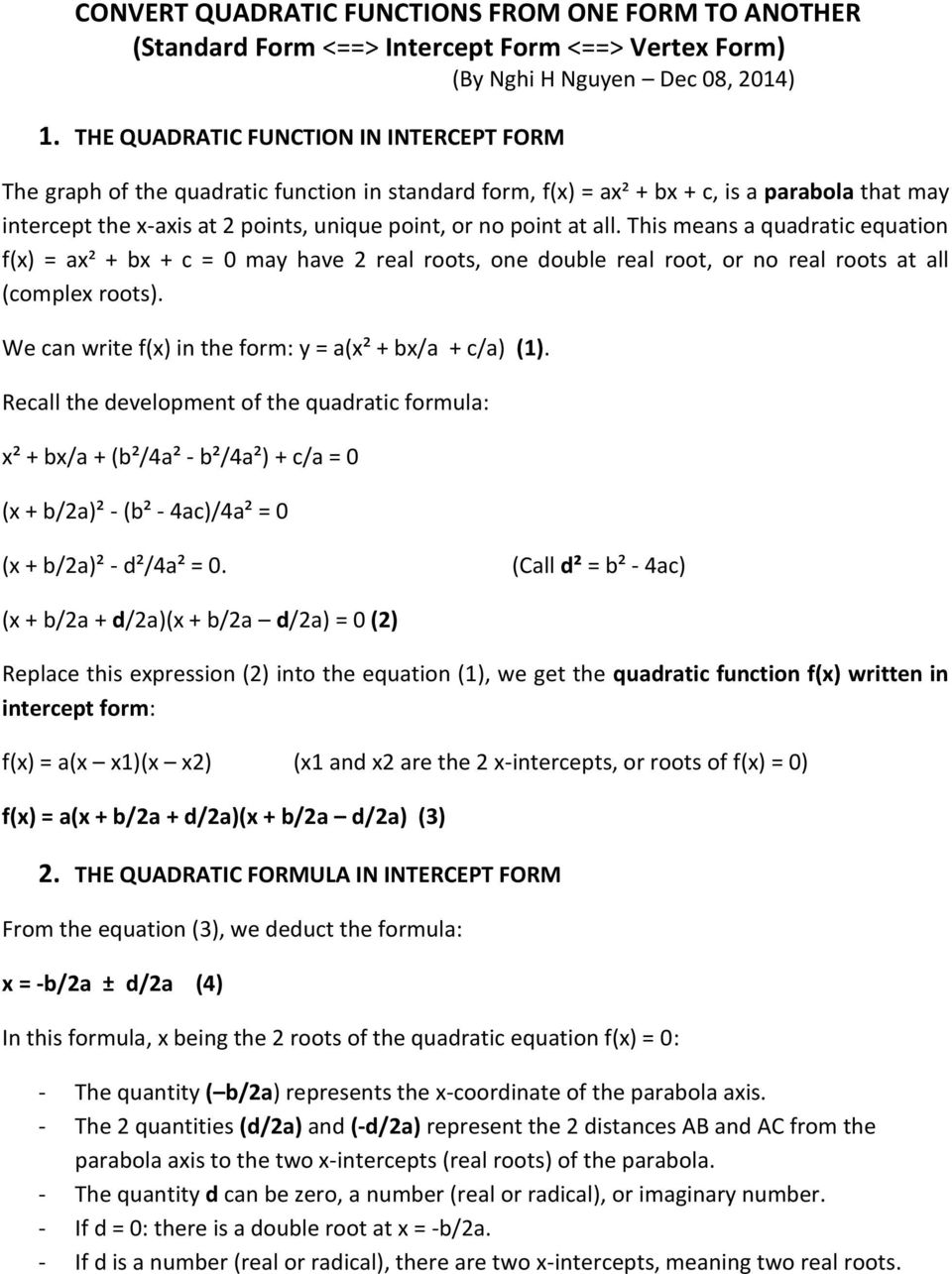 Convert Quadratic Functions From One Form To Another Standard Form