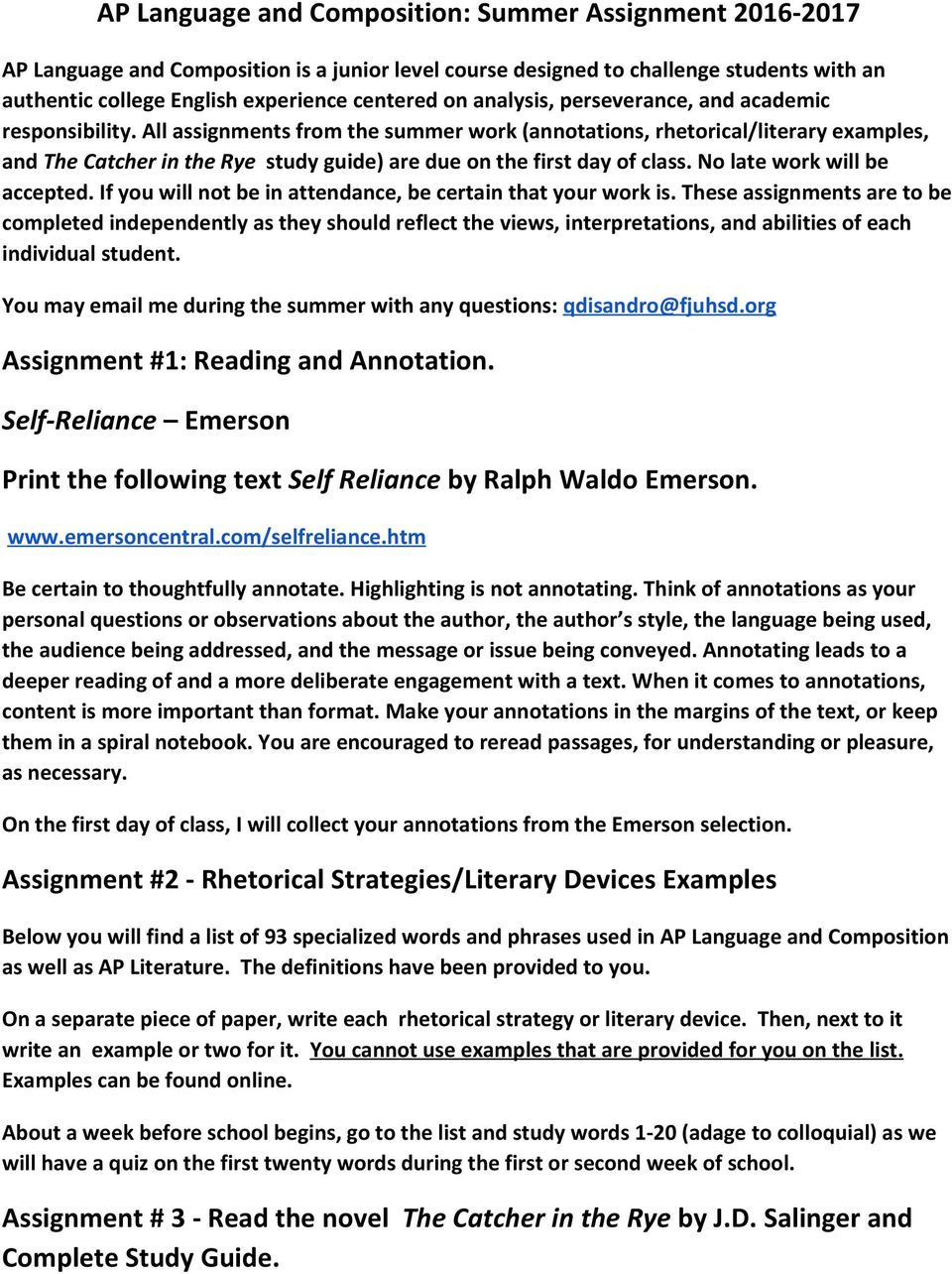 AP Language and Composition: Summer Assignment - PDF