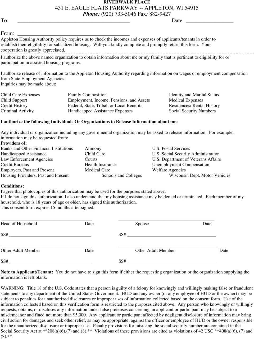 APPLICATION FOR ADMISSION TO RIVERWALK PLACE  If you need