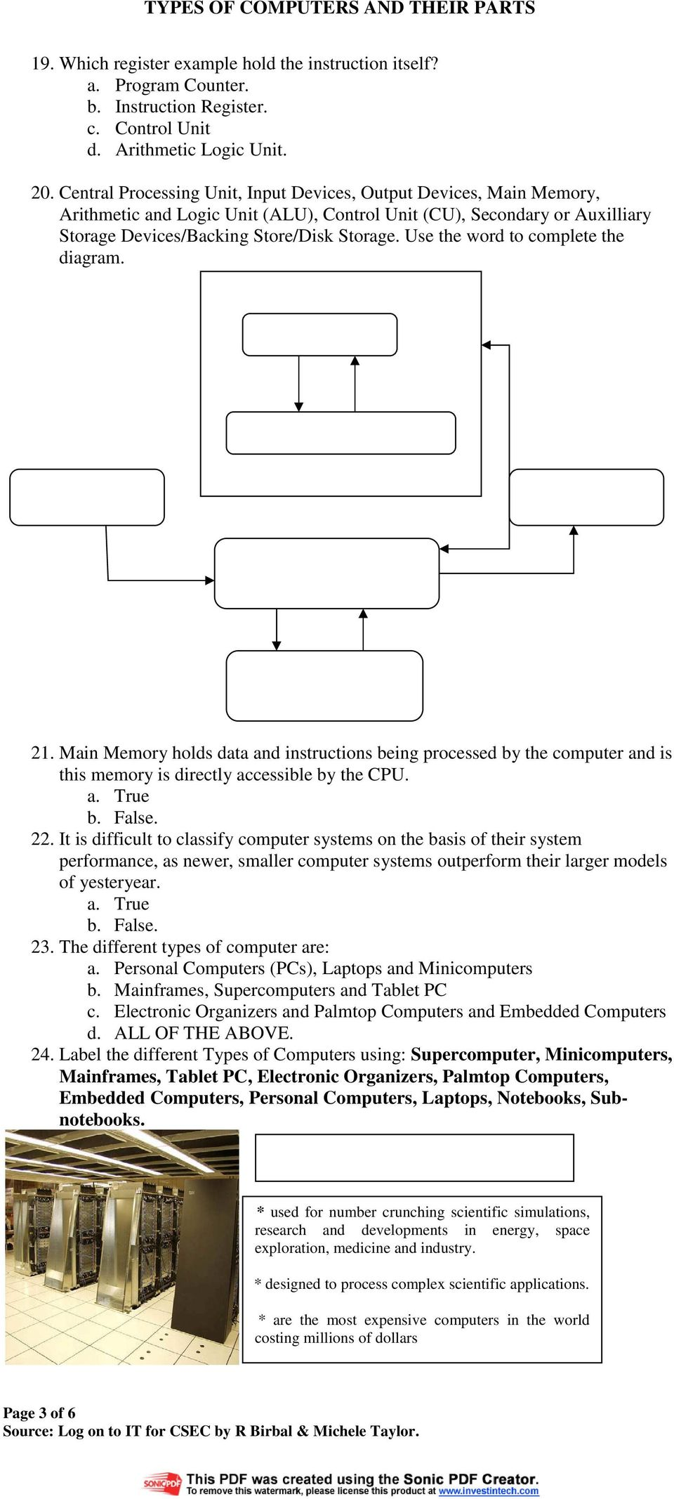 Types Of Computers And Their Parts Multiple Choice Questions Pdf Computer Diagram Use The Word To Complete 21 Main Memory Holds Data Instructions