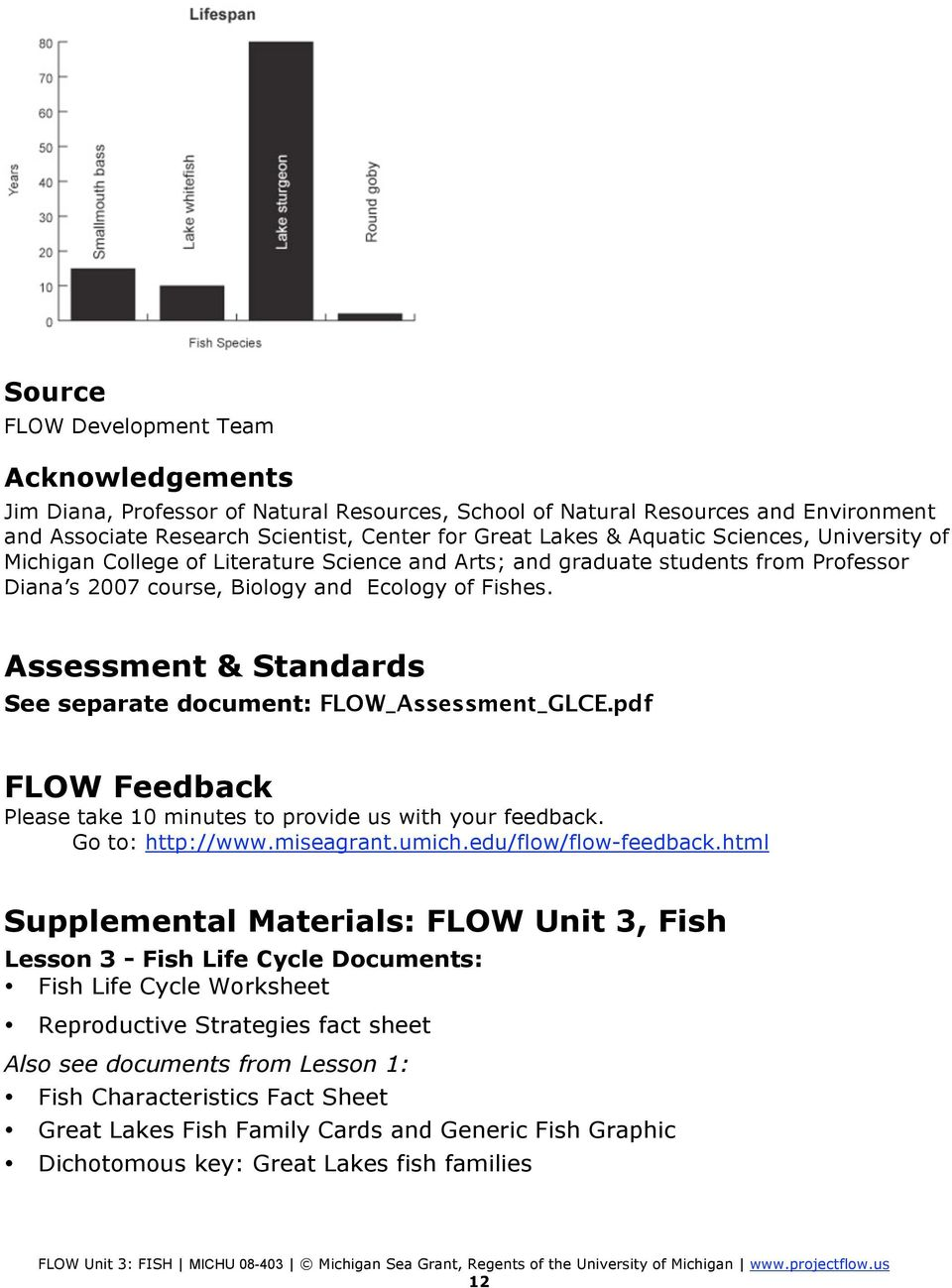 Assessment & Standards See separate document: FLOW_Assessment_GLCE.pdf FLOW Feedback Please take 10 minutes to provide us with your feedback. Go to: http://www.miseagrant.umich.edu/flow/flow-feedback.