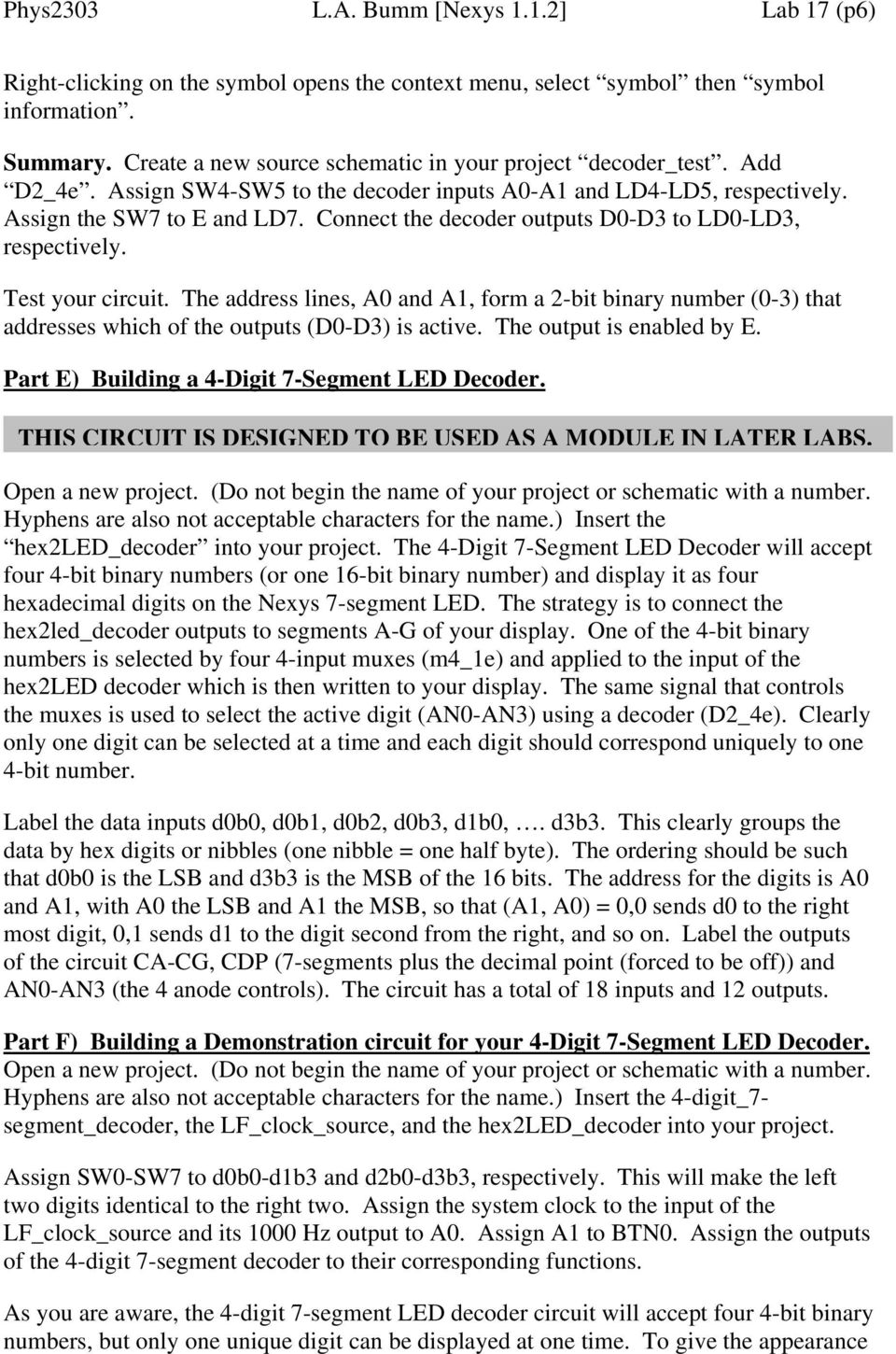 Lab 17 Building A 4 Digit 7 Segment Led Decoder Pdf Street Light Circuit Project Part2 Projects Circuits Connect The Outputs D0 D3 To Ld0 Ld3 Respectively Test Your