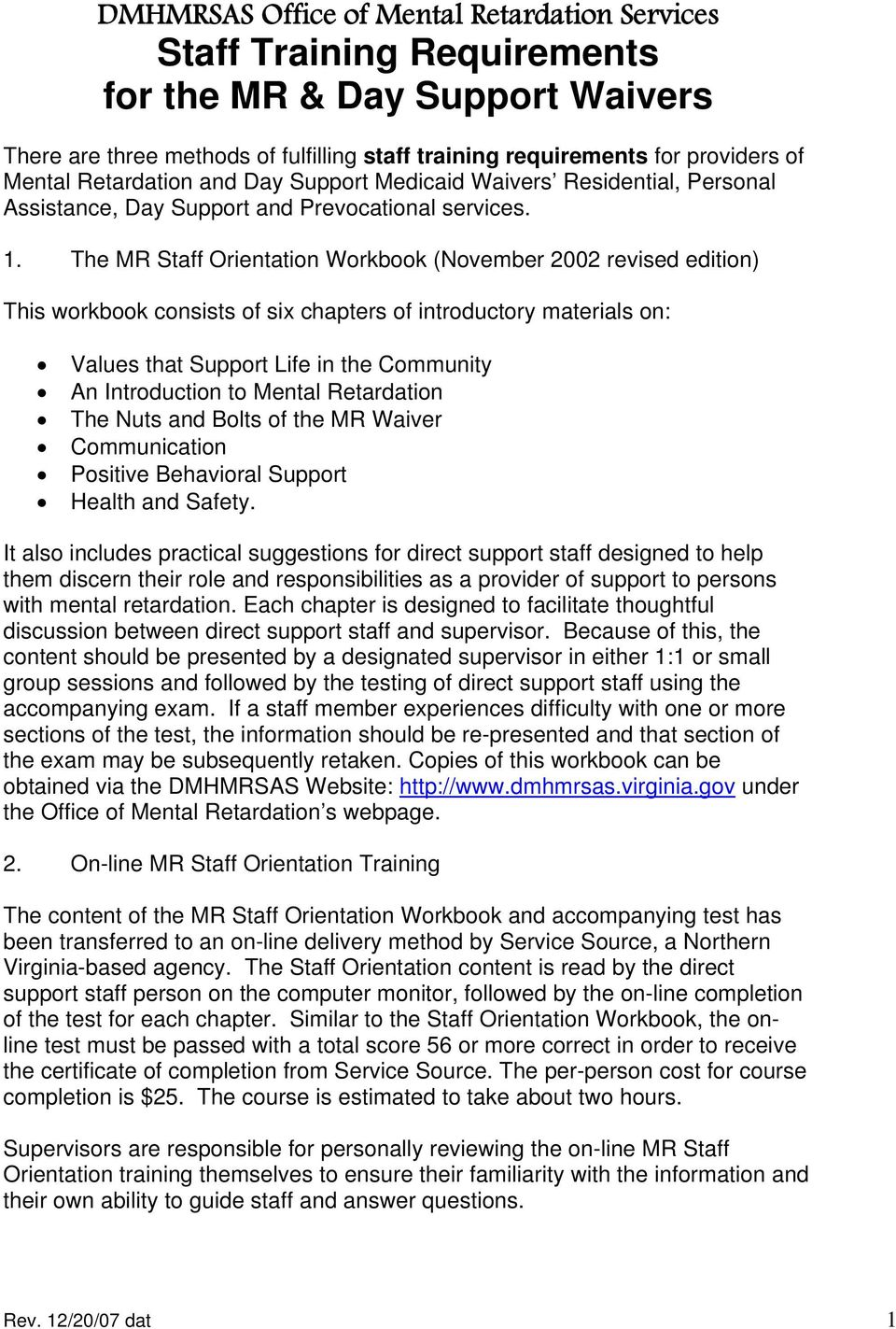 Staff Training Requirements for the MR & Day Support Waivers