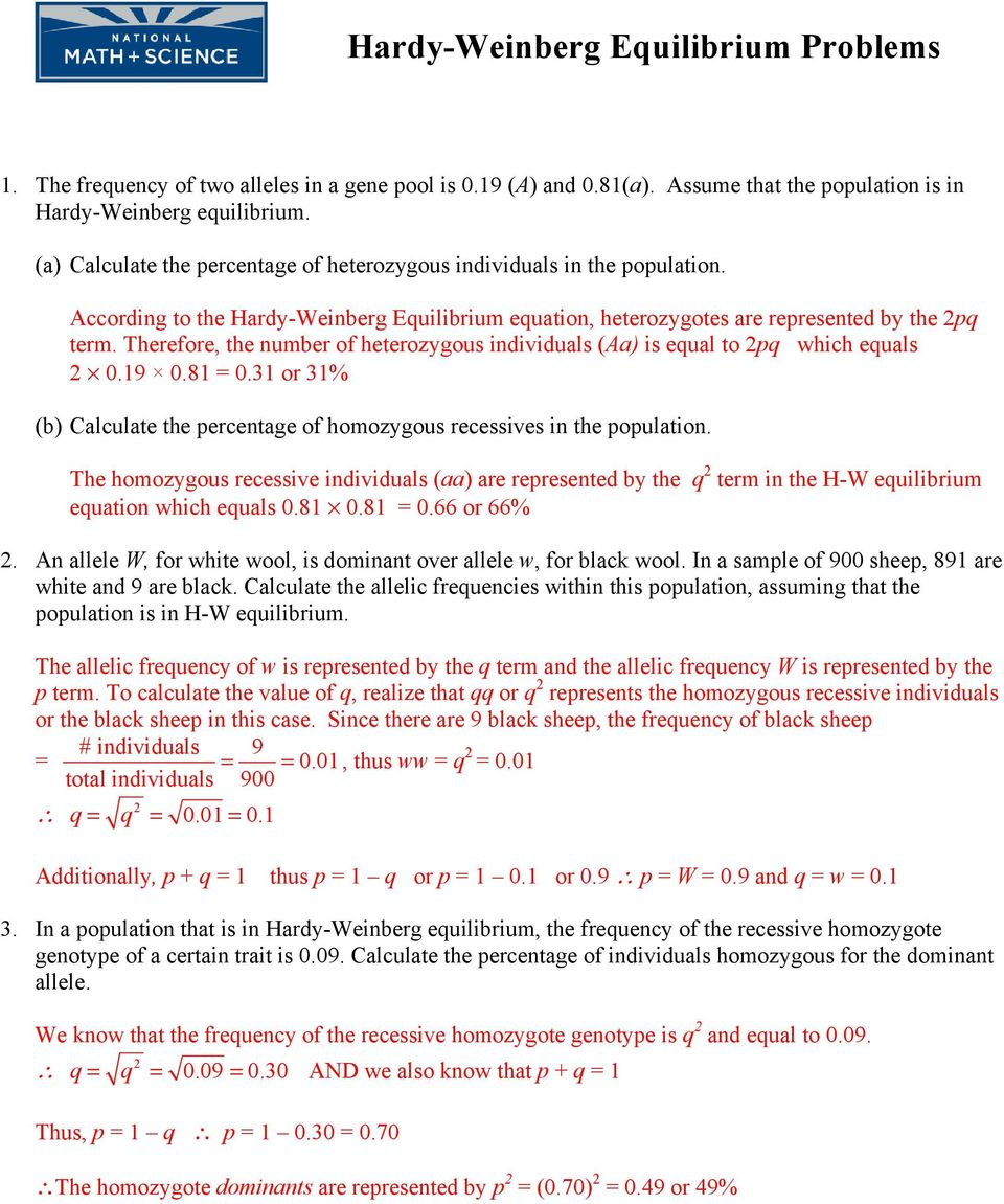 Hardy Weinberg Equilibrium Problems Pdf
