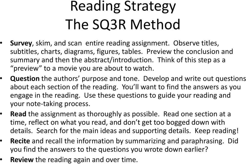 Develop and write out questions about each section of the reading. You ll want to find the answers as you engage in the reading. Use these questions to guide your reading and your note-taking process.