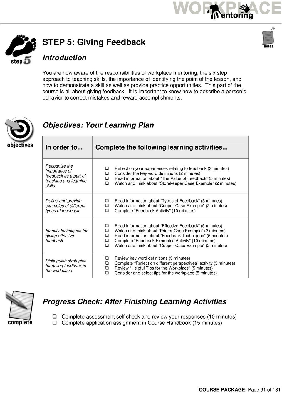 It is important to know how to describe a person s behavior to correct mistakes and reward accomplishments. Objectives: Your Learning Plan In order to... Complete the following learning activities.