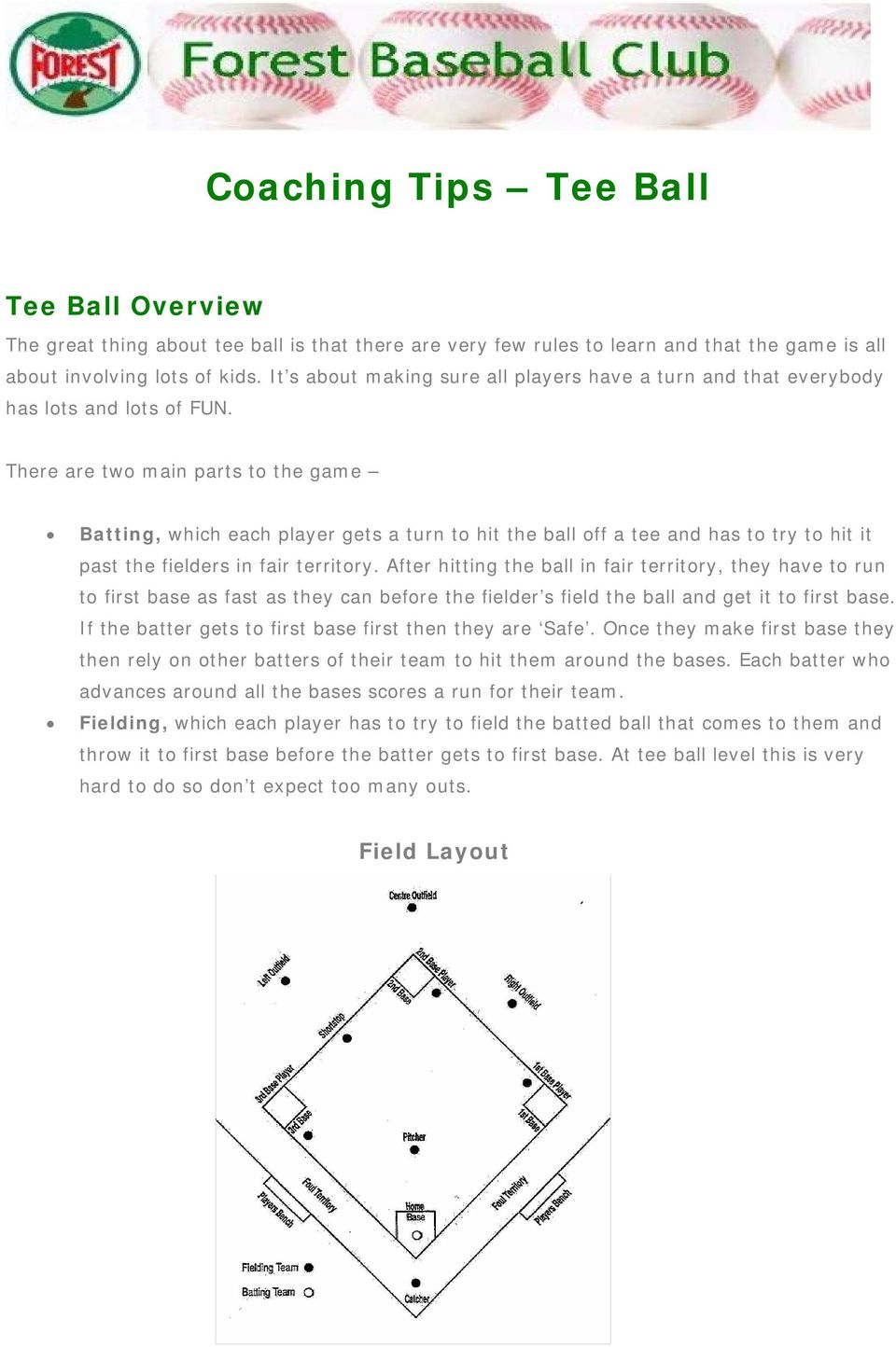 There are two main parts to the game Batting, which each player gets a turn to hit the ball off a tee and has to try to hit it past the fielders in fair territory.