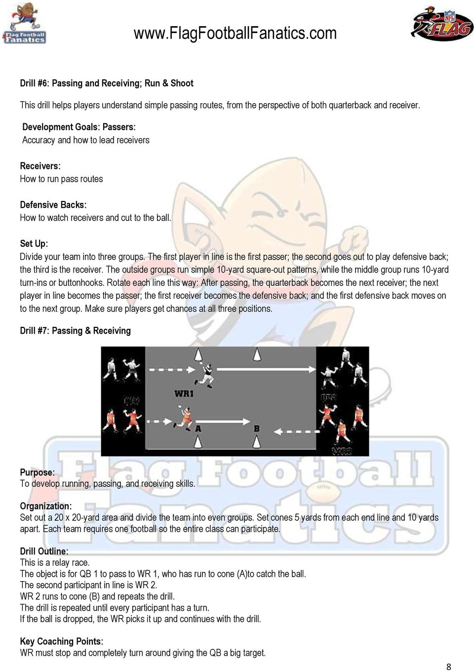 Basic Flag Football Coaching Strategies Tips Pdf Skills In Relay Race Set Up Divide Your Team Into Three Groups The First Player Line Is