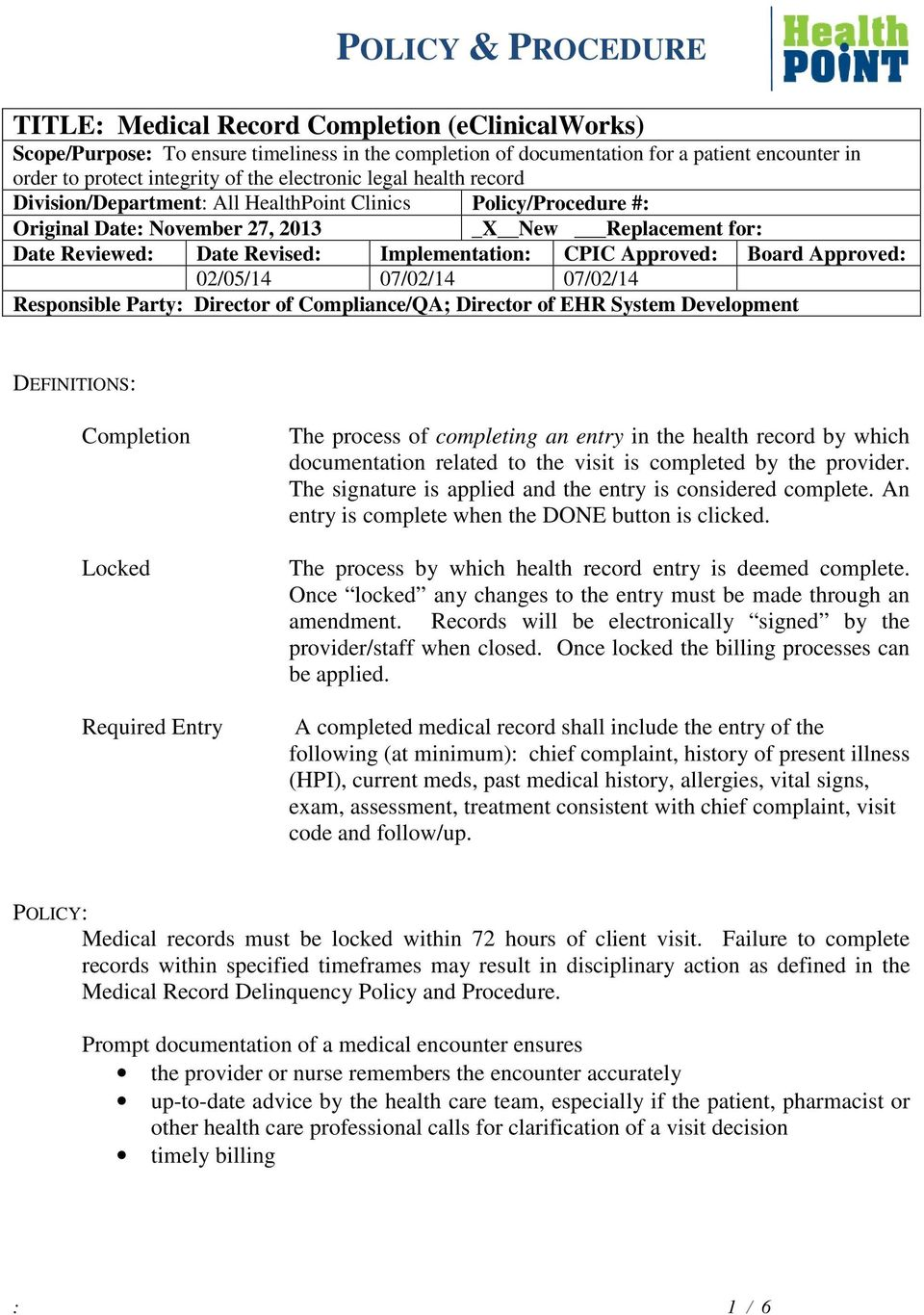POLICY & PROCEDURE DEFINITIONS: - PDF