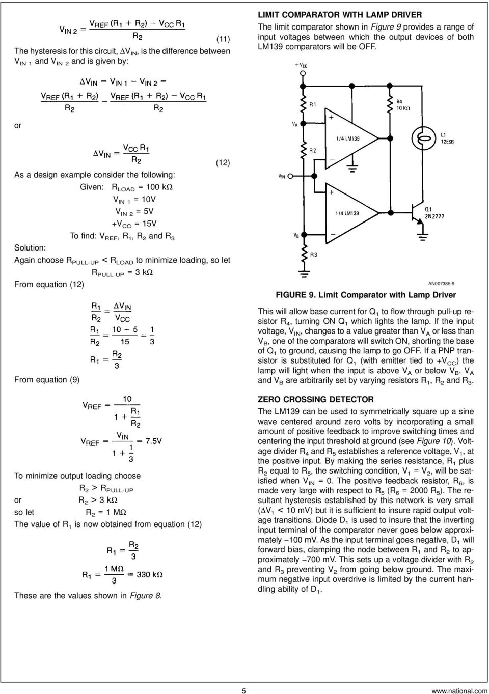 Lm139 Lm239 Lm339 A Quad Of Independently Functioning Comparators Pdf The Current Is Determined By Formula Out V Vref R2 Or As Design Example Consider Following Given R Load 100 K