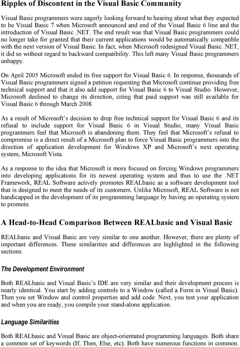 REALbasic versus Visual Basic - PDF