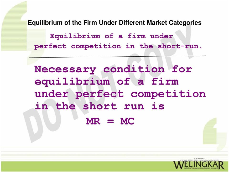 Necessary condition for equilibrium of a