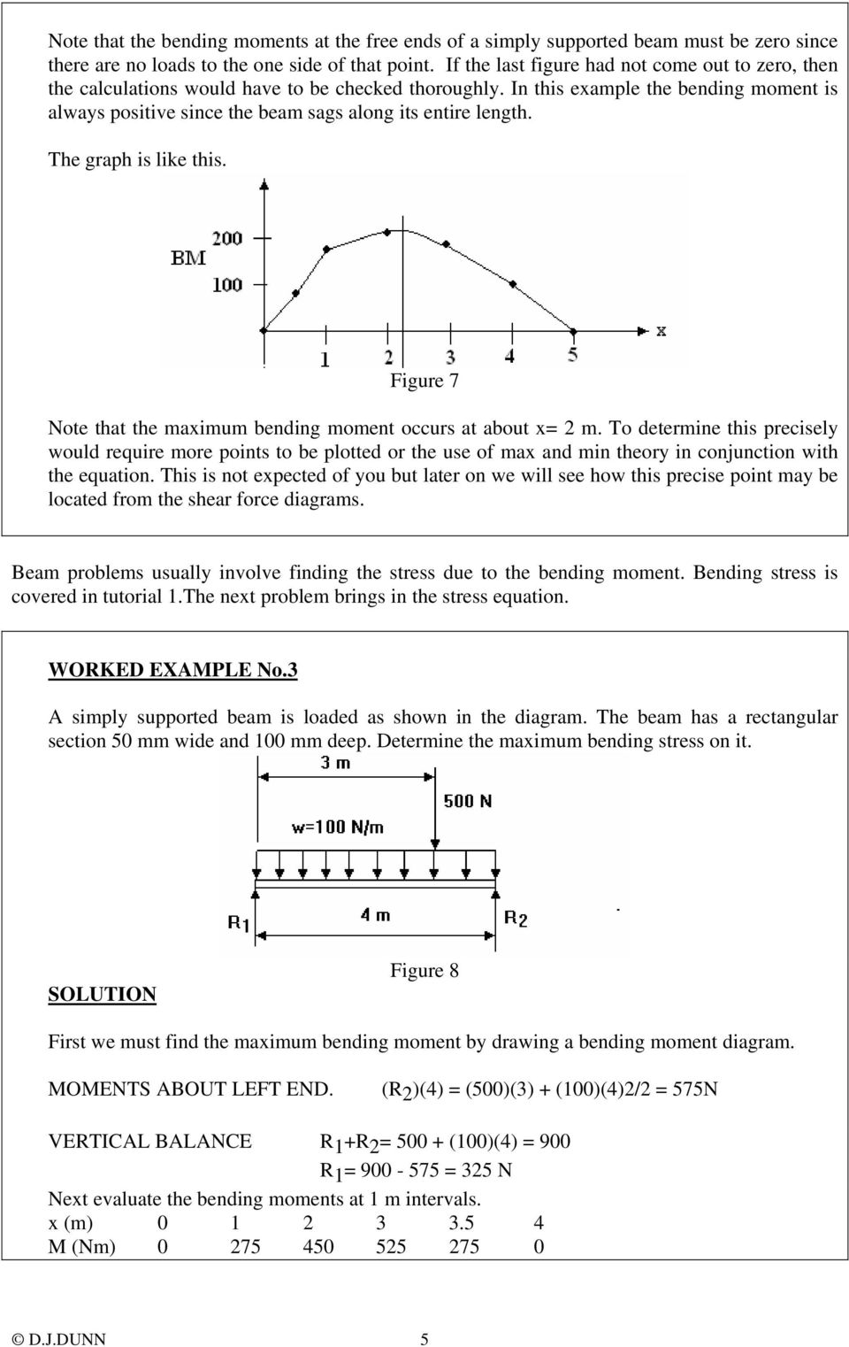 ENGINEERING SCIENCE H1 OUTCOME 1 - TUTORIAL 3 BENDING MOMENTS