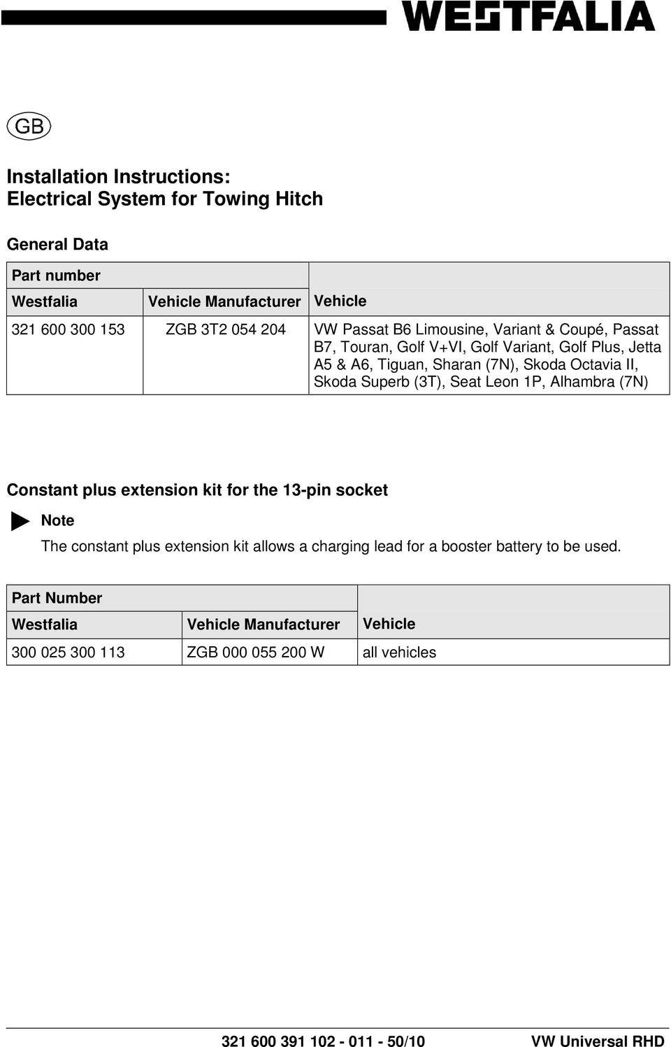 Installation Instructions Electrical System For Towing Hitch Pdf 2012 Vw Beetle Wiring Harness Trailer 7n Constant Plus Extension Kit The 13 Pin Socket Note