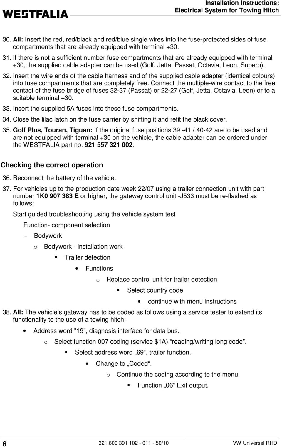 Installation Instructions: Electrical System for Towing Hitch - PDF