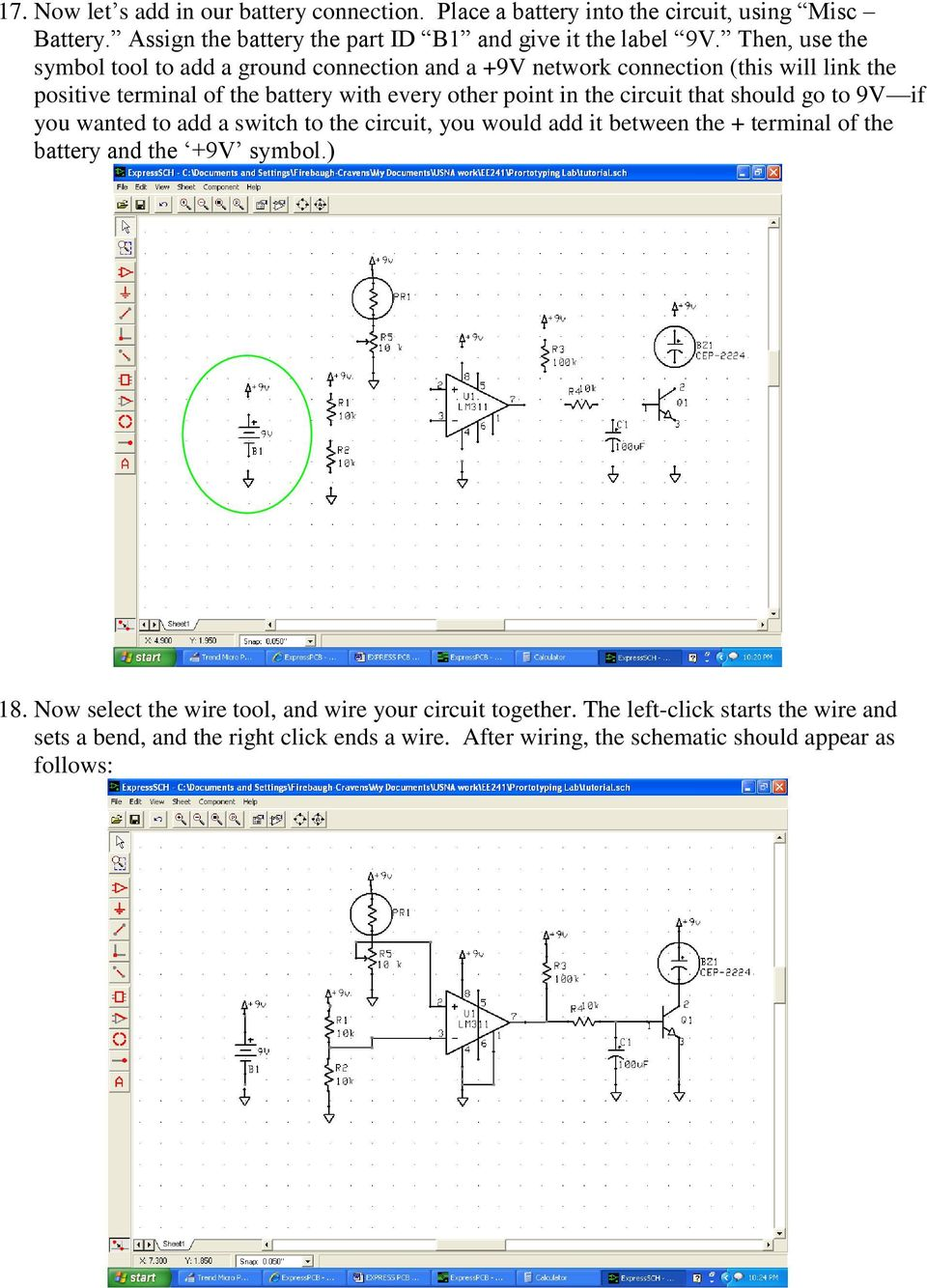 Express Pcb Tutorial Author Lee Morey Revised Je Feb Pdf Led Wiring Circuit Diagram In Addition Joule Thief Schematic That Should Go To 9v If You Wanted Add A Switch The