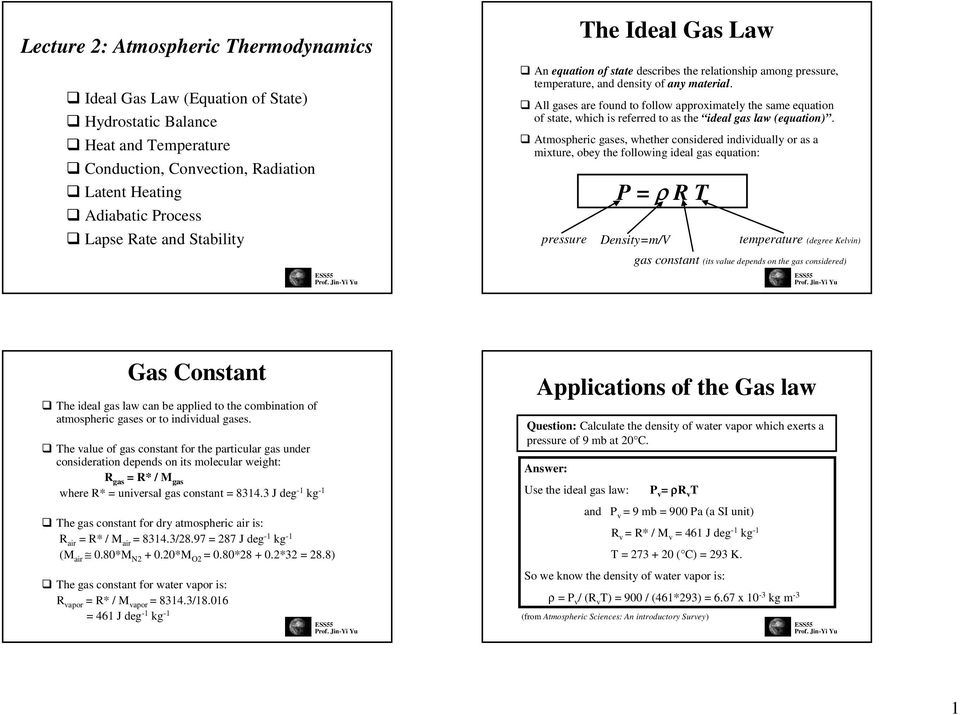 The Ideal Gas Law  Gas Constant  Applications of the Gas law  P = ρ