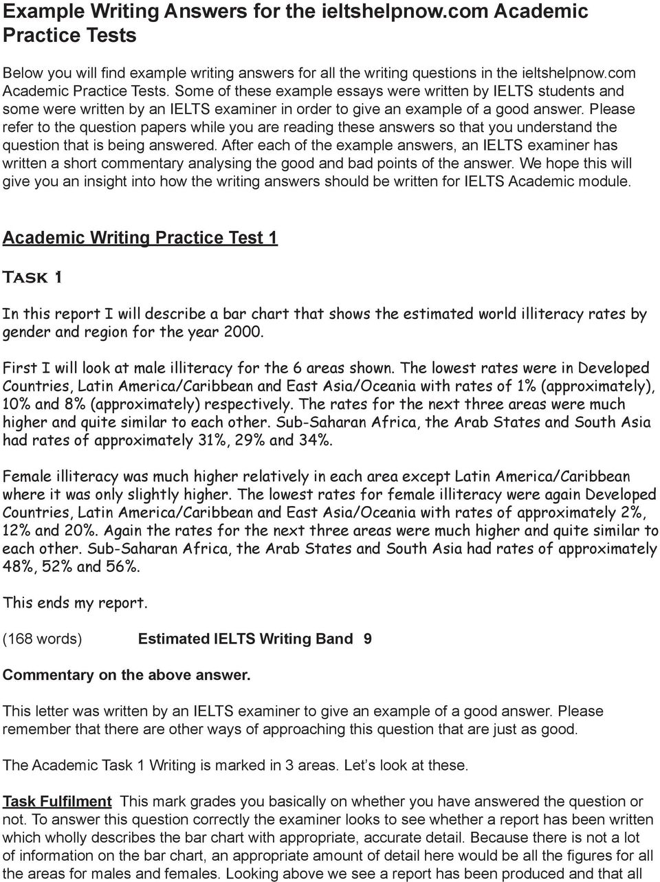 Example Writing Answers for the ieltshelpnow com Academic