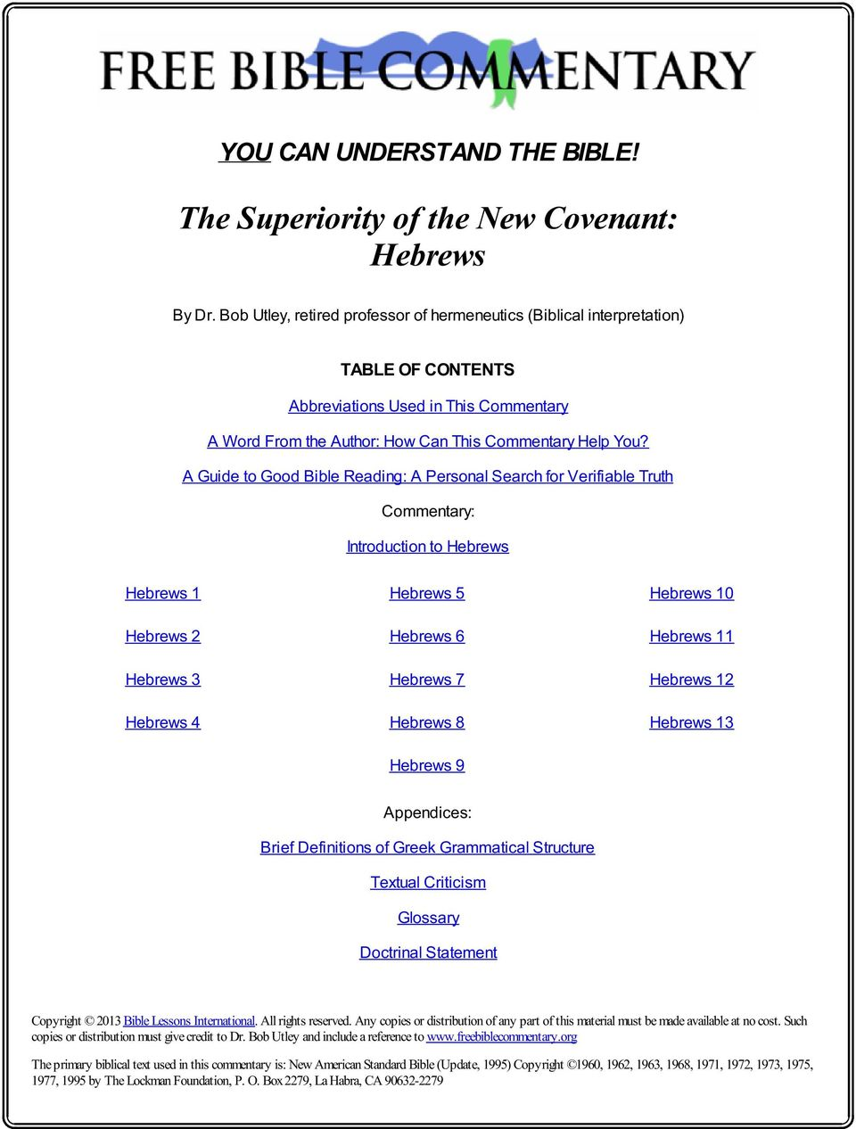The Superiority of the New Covenant: Hebrews - PDF