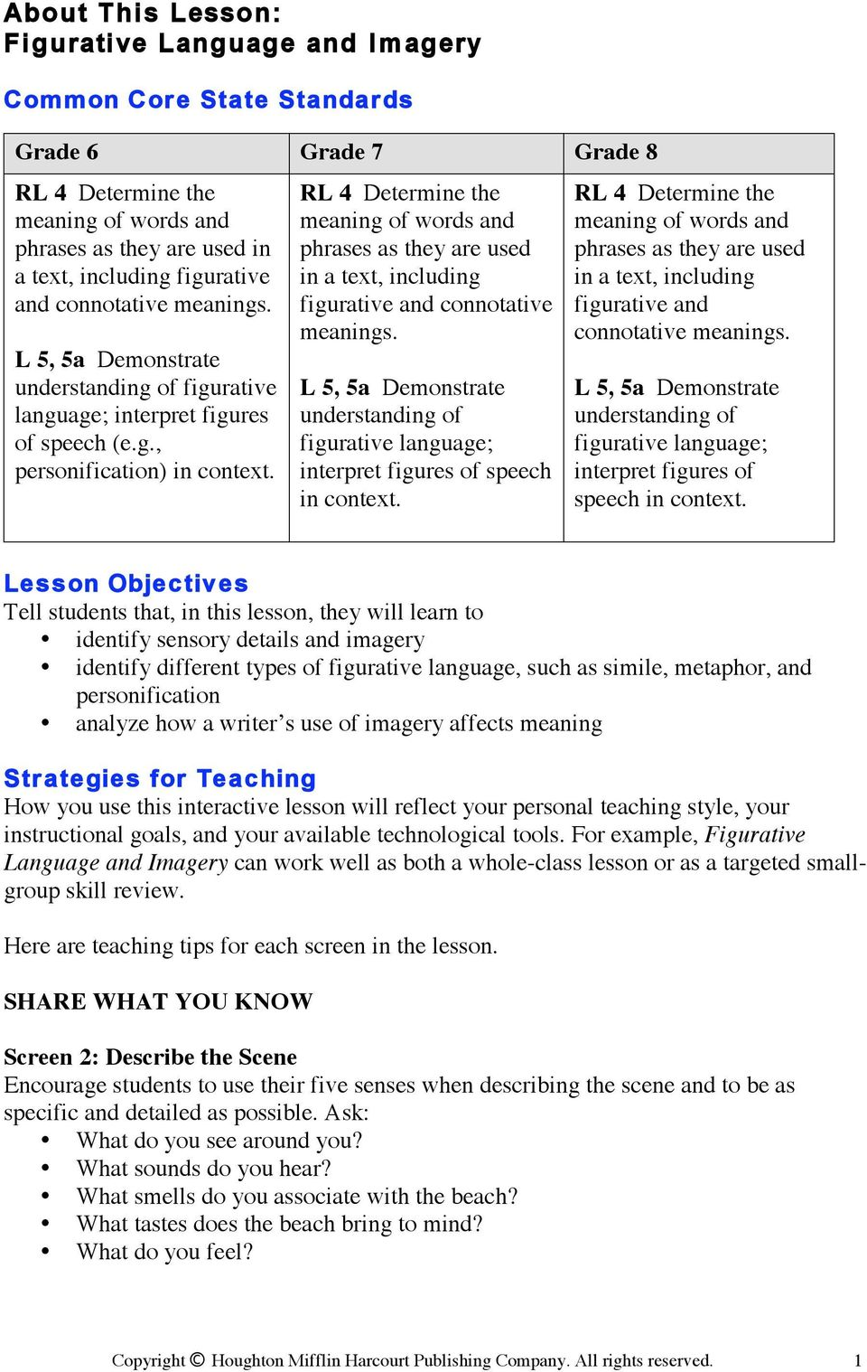 about this lesson: figurative language and imagery - pdf