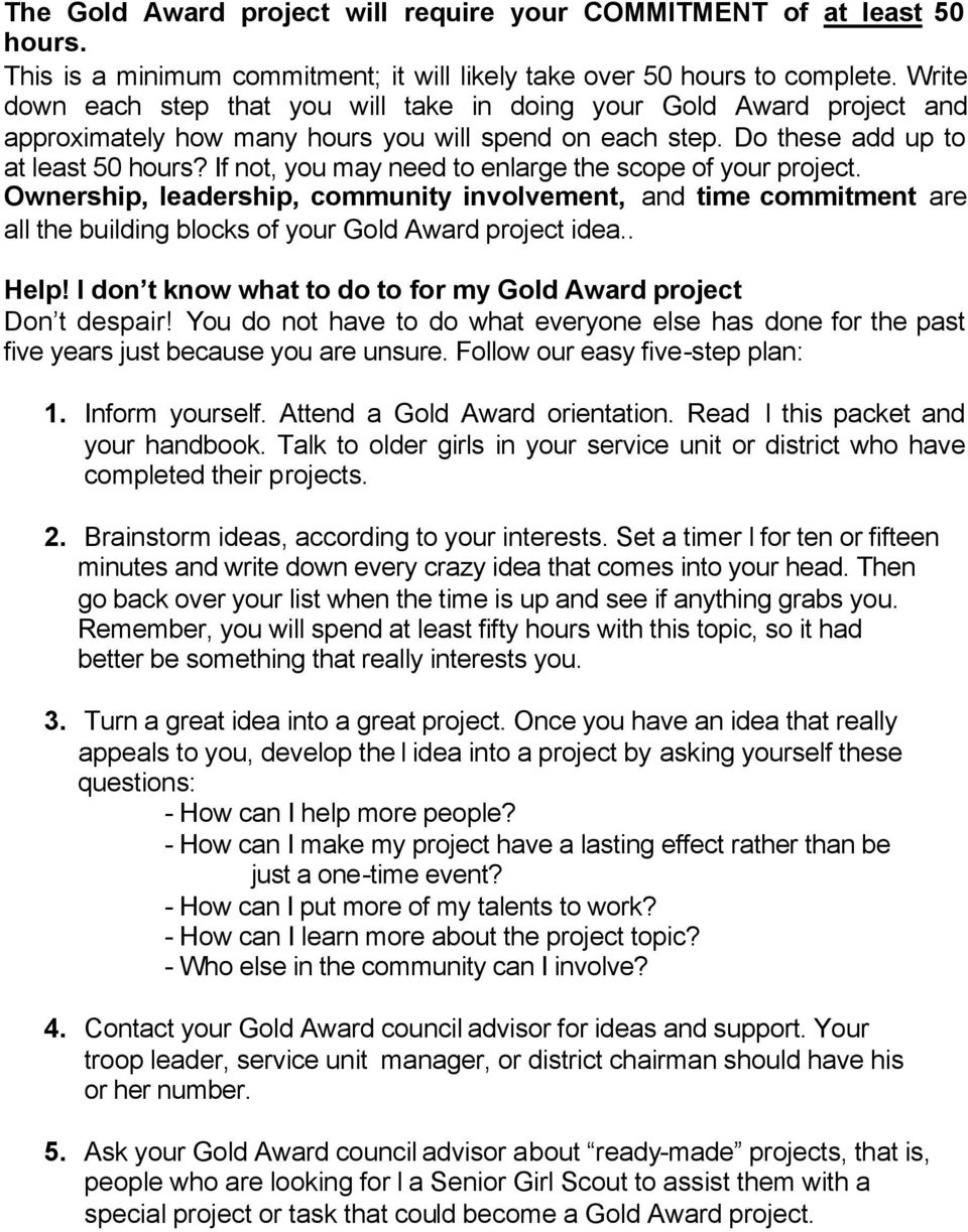Girl Scout Gold Award Project Guide Pdf Free Download