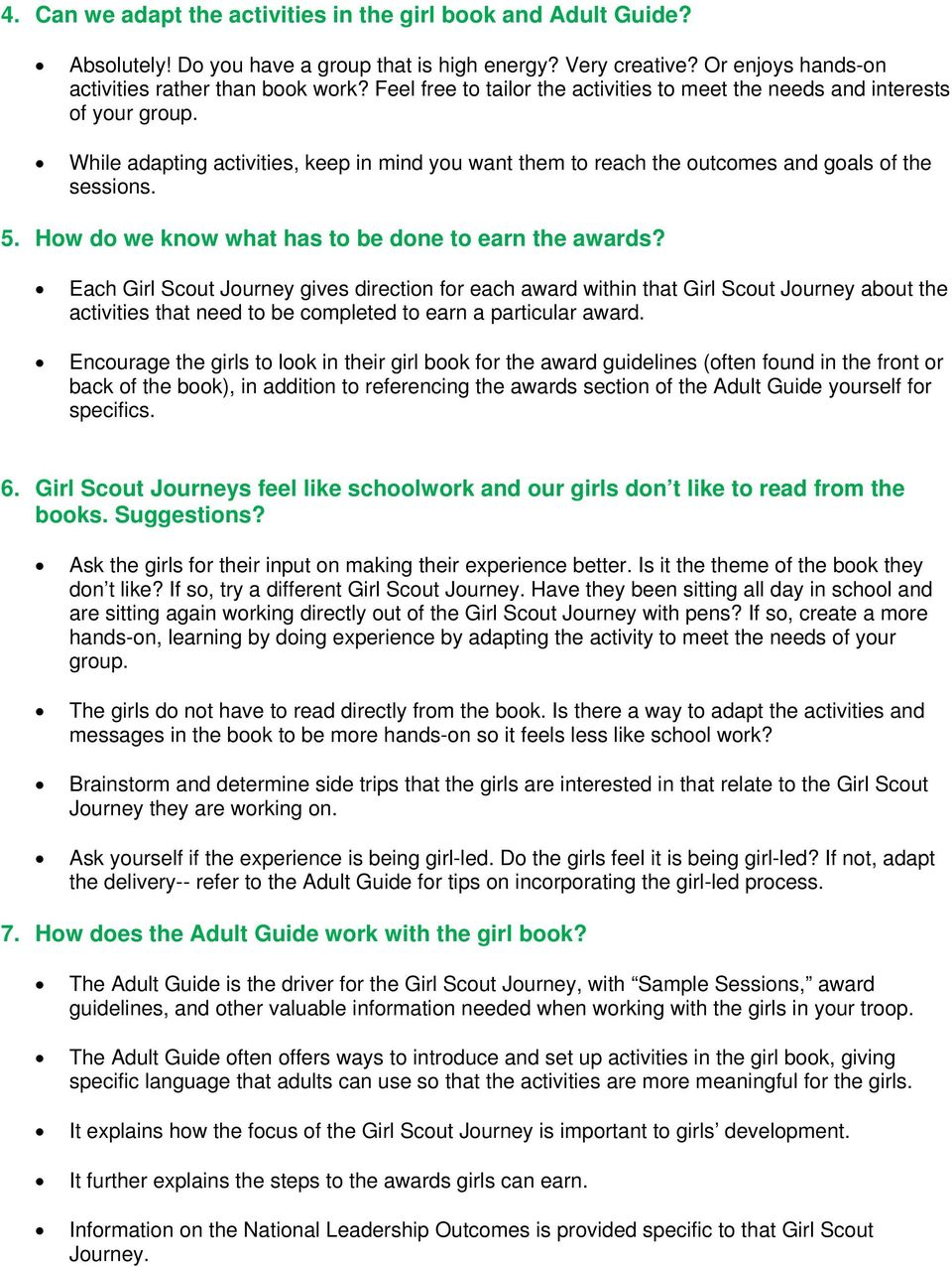 Girl Scout Journey Faqs Frequently Asked Questions Pdf