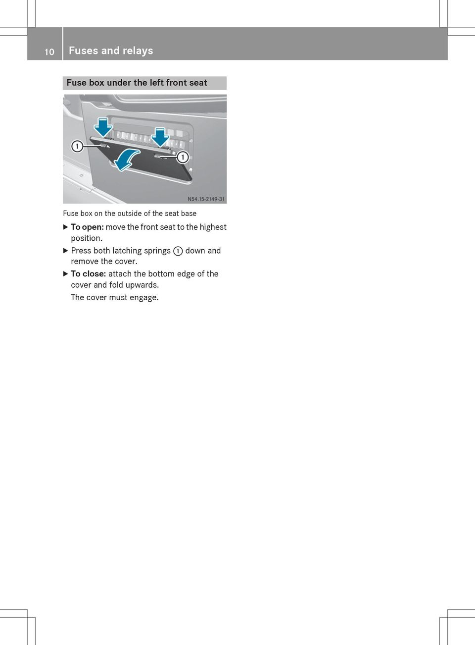 Sprinter Y Fuse Allocation Supplement Order No Part Edition Pdf Box For 2008 Volvo C30 Position X Press Both Latching Springs Down And Remove The Cover