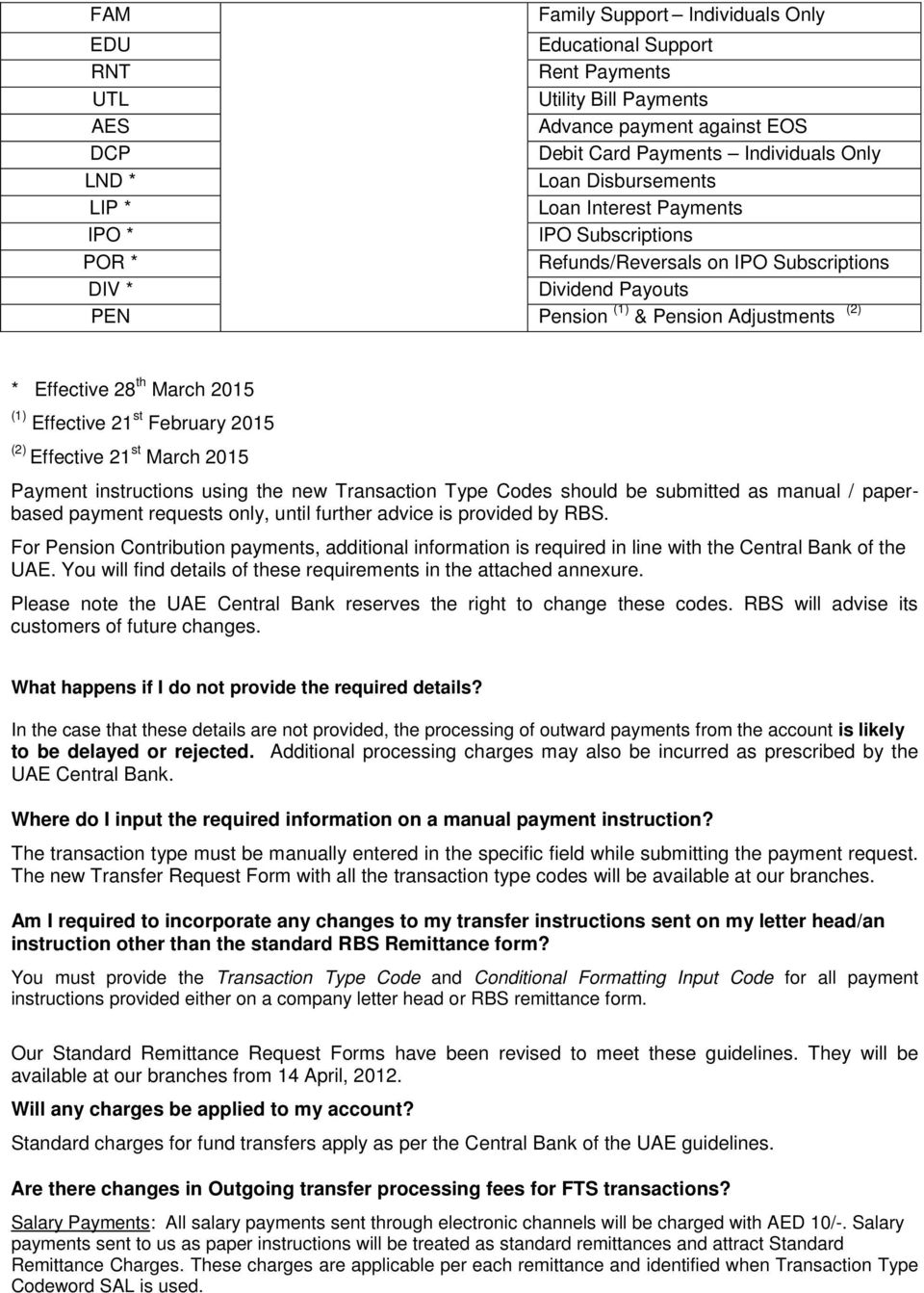 Faq On The Uae Funds Transfer System Fts Pdf Should It Be Of Interest An Electronic Copy This Manual Is March 2015 1 Effective 21 St February 2