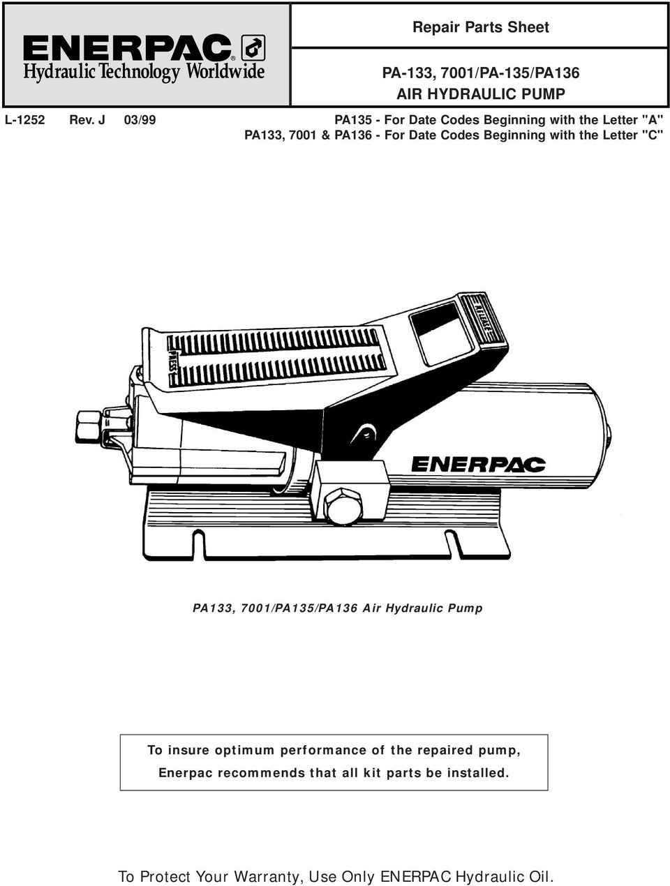 To Protect Your Warranty, Use Only ENERPAC Hydraulic Oil  - PDF