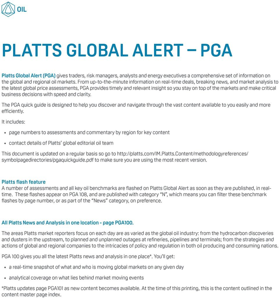 PLATTS GLOBAL ALERT A PAGE REFERENCE GUIDE FOR PGA USERS KEY