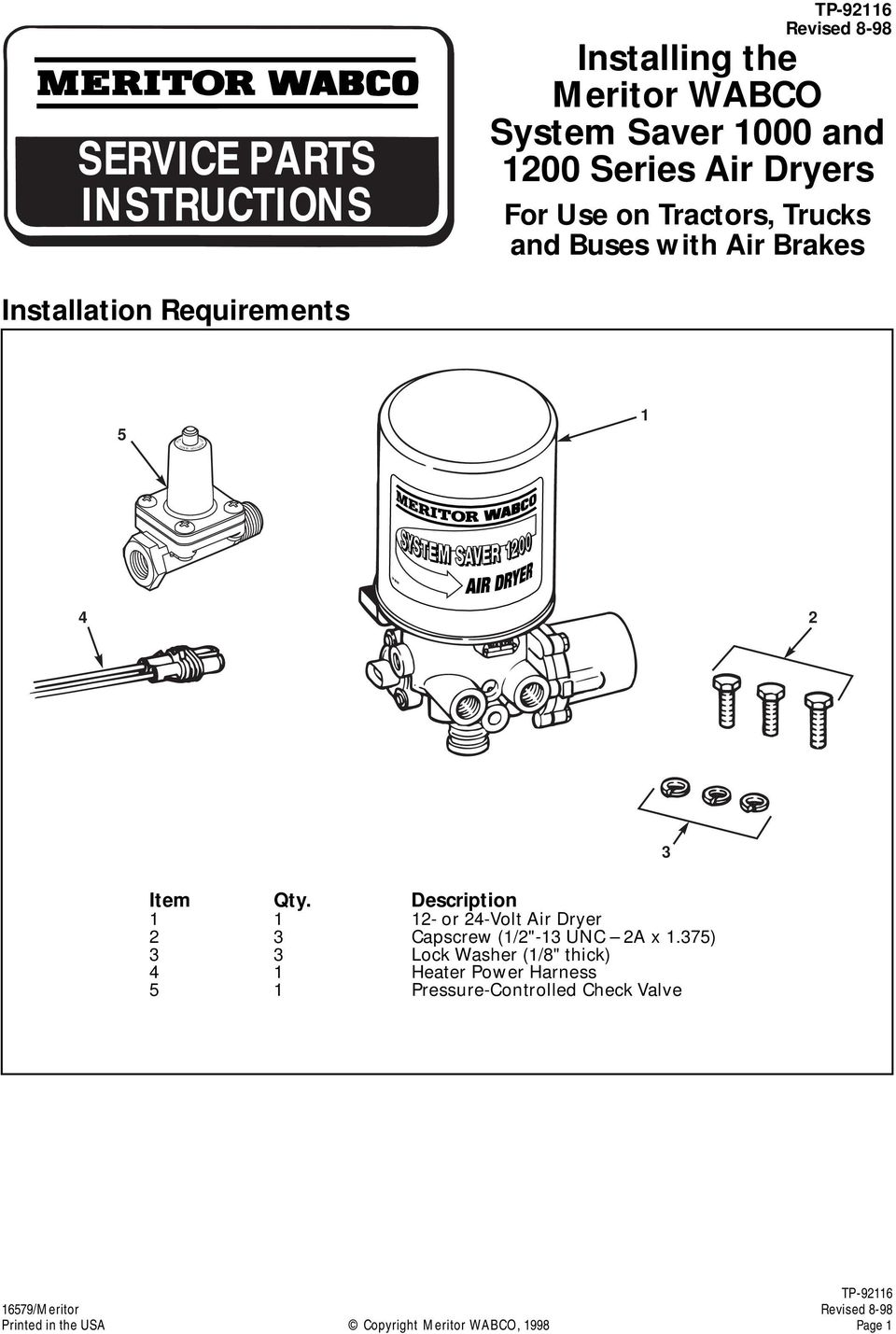 SERVICE PARTS INSTRUCTIONS - PDF on