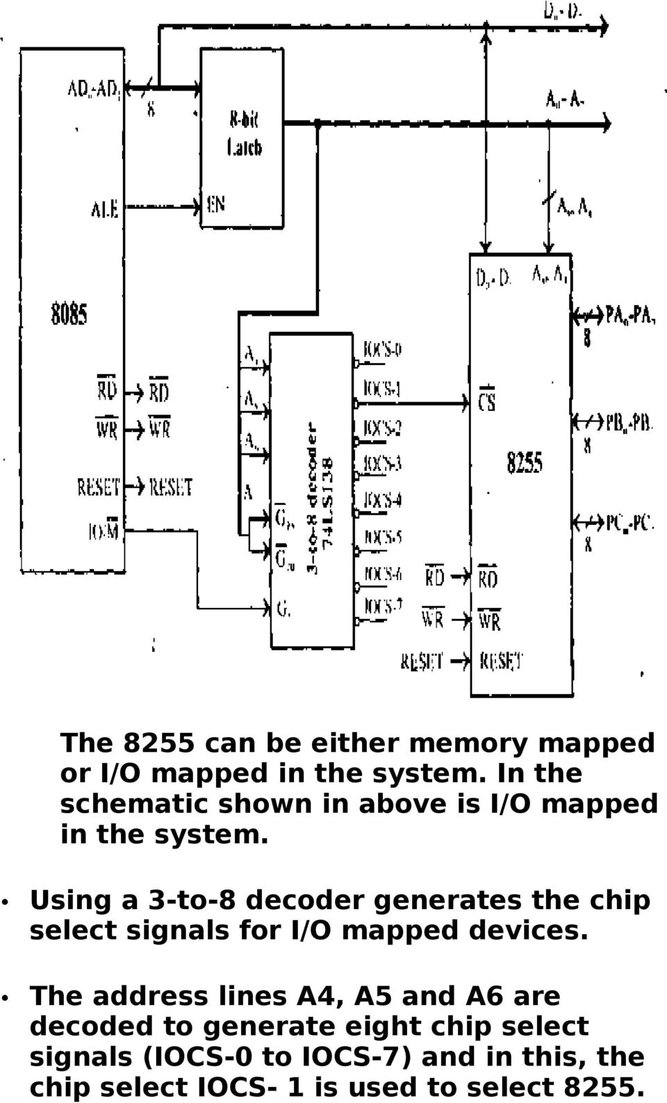 Automatic Night Lamp With Morning Alarm Using Microprocessor Pdf Logic Diagram Of 8085 A 3 To 8 Decoder Generates The Chip Select Signals For I
