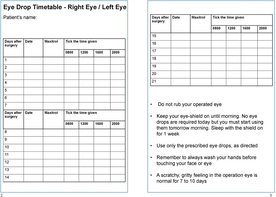Cataract Surgery Eye Drop Timetable And Post Operative