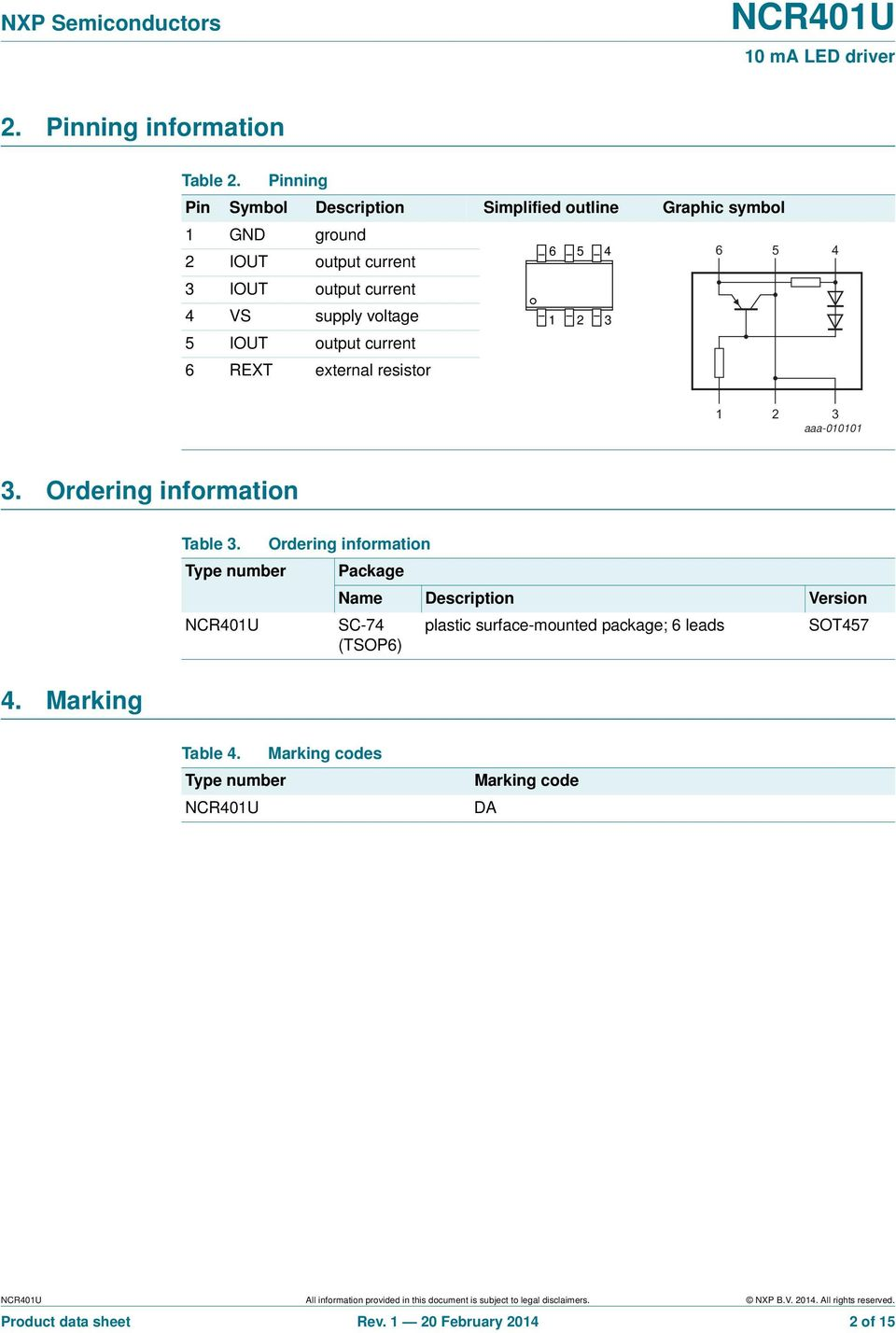 current 6 REXT external resistor 6 5 4 6 5 4 1 2 3 1 2 3 aaa-01 3. Ordering information 4. Marking Table 3.