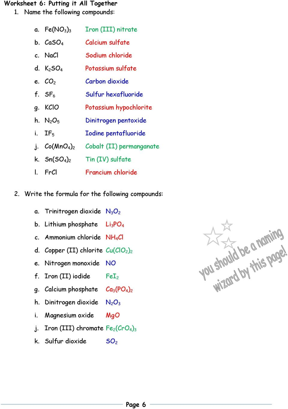 Nomenclature Packet 1 Name The Following Ionic Compounds A Al 2