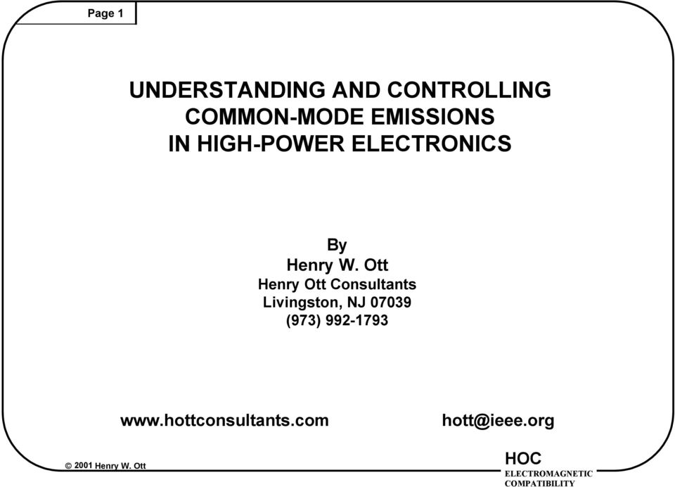 ELECTRONICS By Henry Ott Consultants
