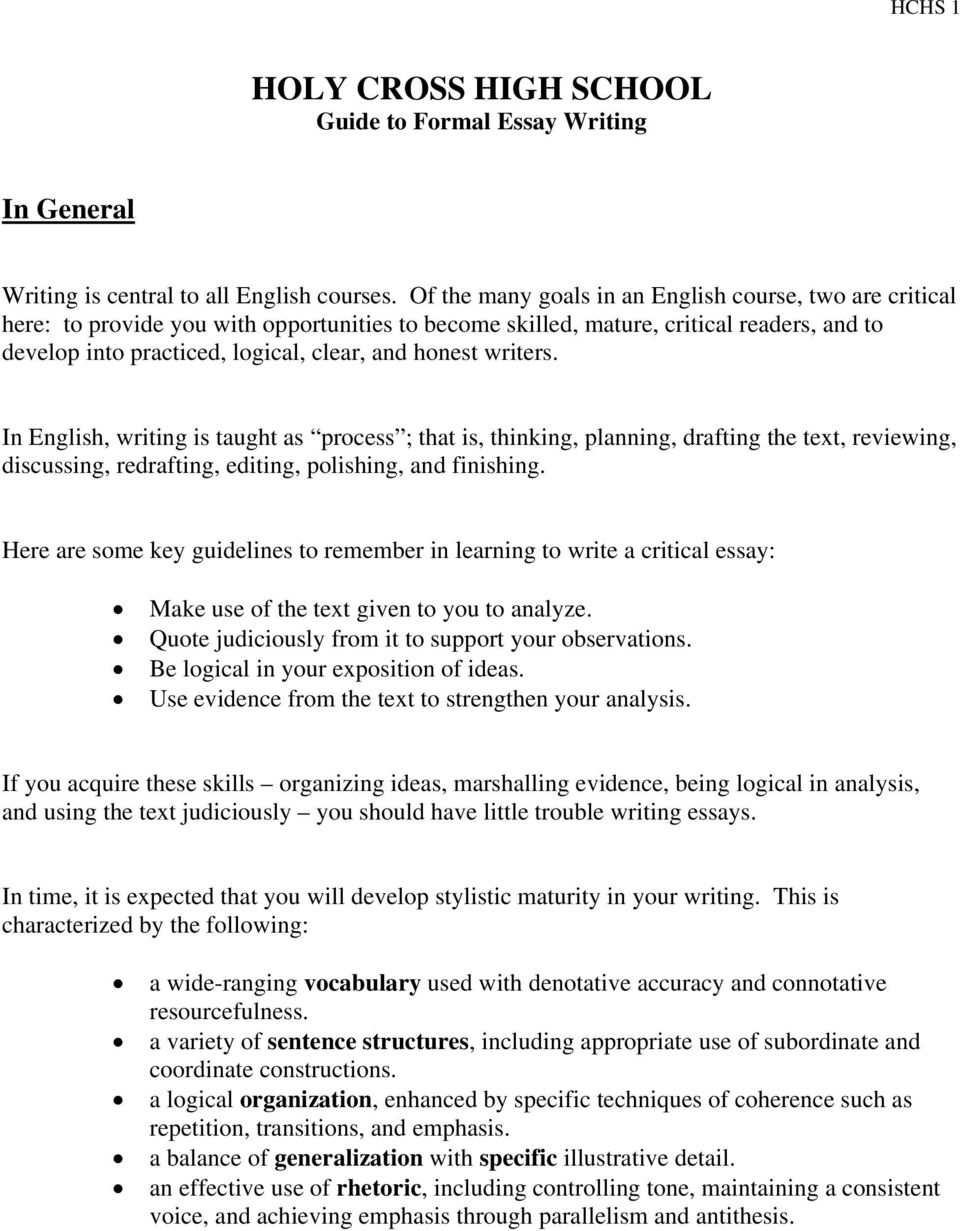 Essay Proposal Format In English Writing Is Taught As Process  That Is Thinking How To Write A Synthesis Essay also Sample English Essay Holy Cross High School Guide To Formal Essay Writing  Pdf Examples Of Thesis Statements For Argumentative Essays
