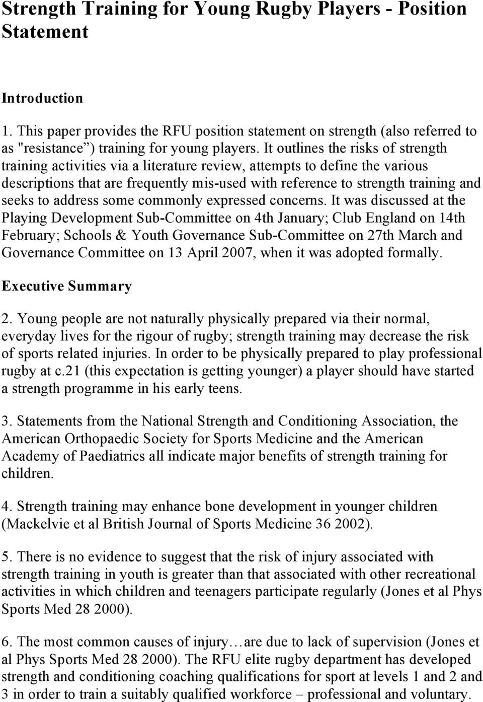 Strength Training for Young Rugby Players Position Statement