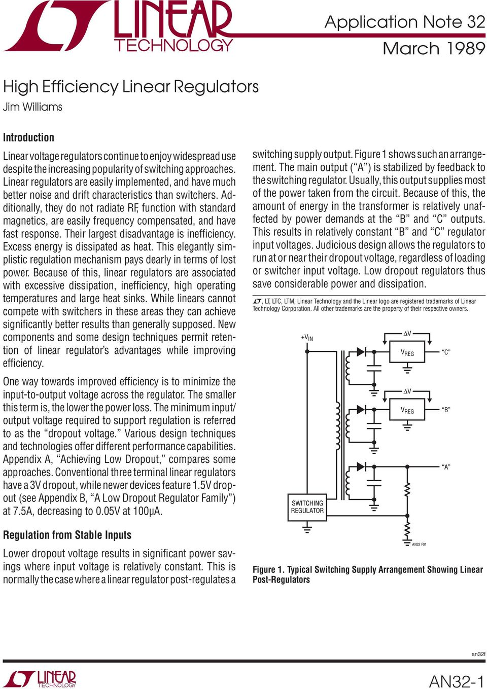 Application Note 32 March High Effi Ciency Linear Regulators An32 1 Power Loss Comparison With The Regulator Additionally They Do Not Radiate Rf Function Standard Magnetics Are Easily Frequency