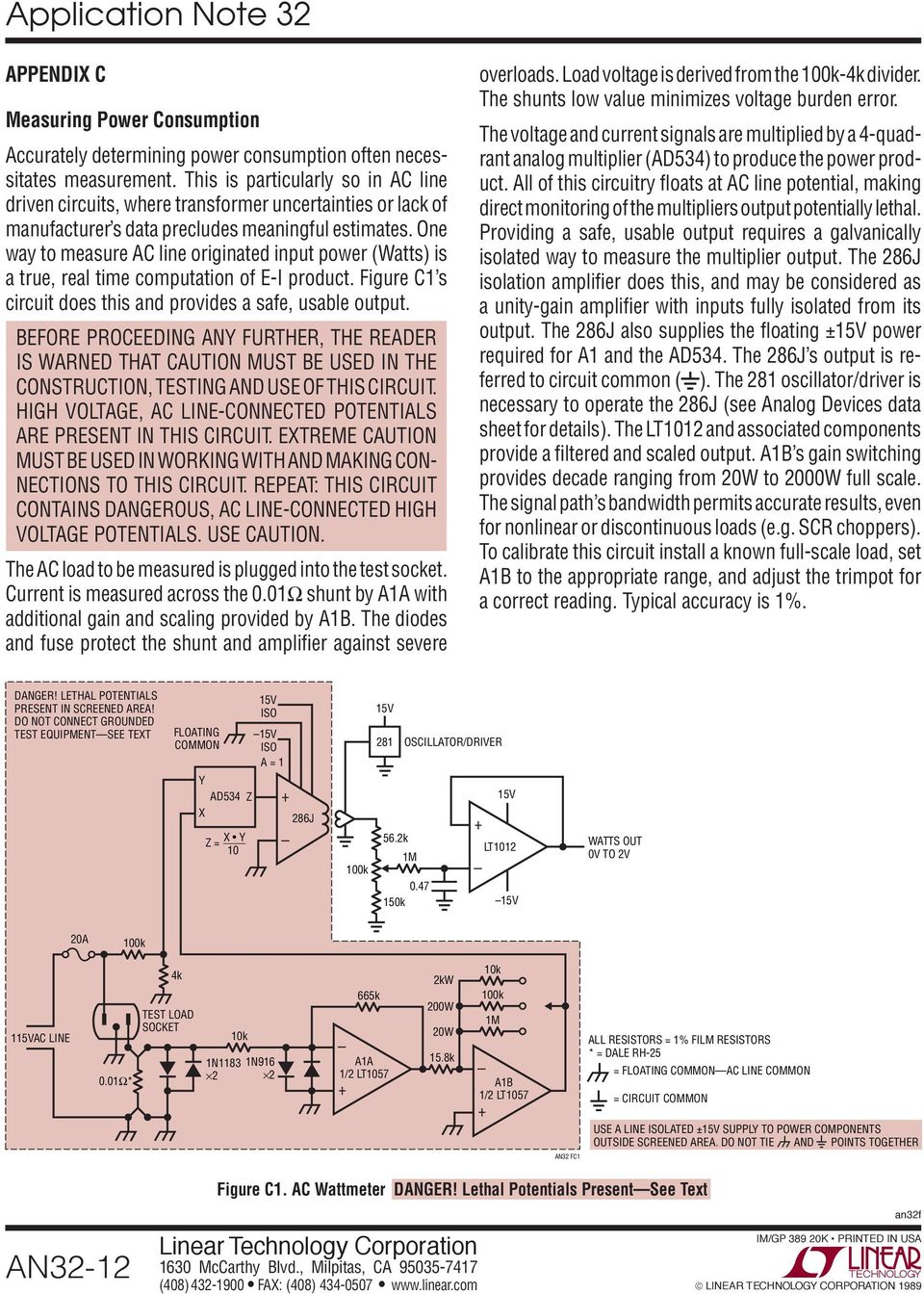 Application Note 32 March High Effi Ciency Linear Regulators An32 1 Modify Old Battery Charger Into Automatic Using Power Scr And Ca723 One Way To Measure Ac Line Originated Input Watts Is A True