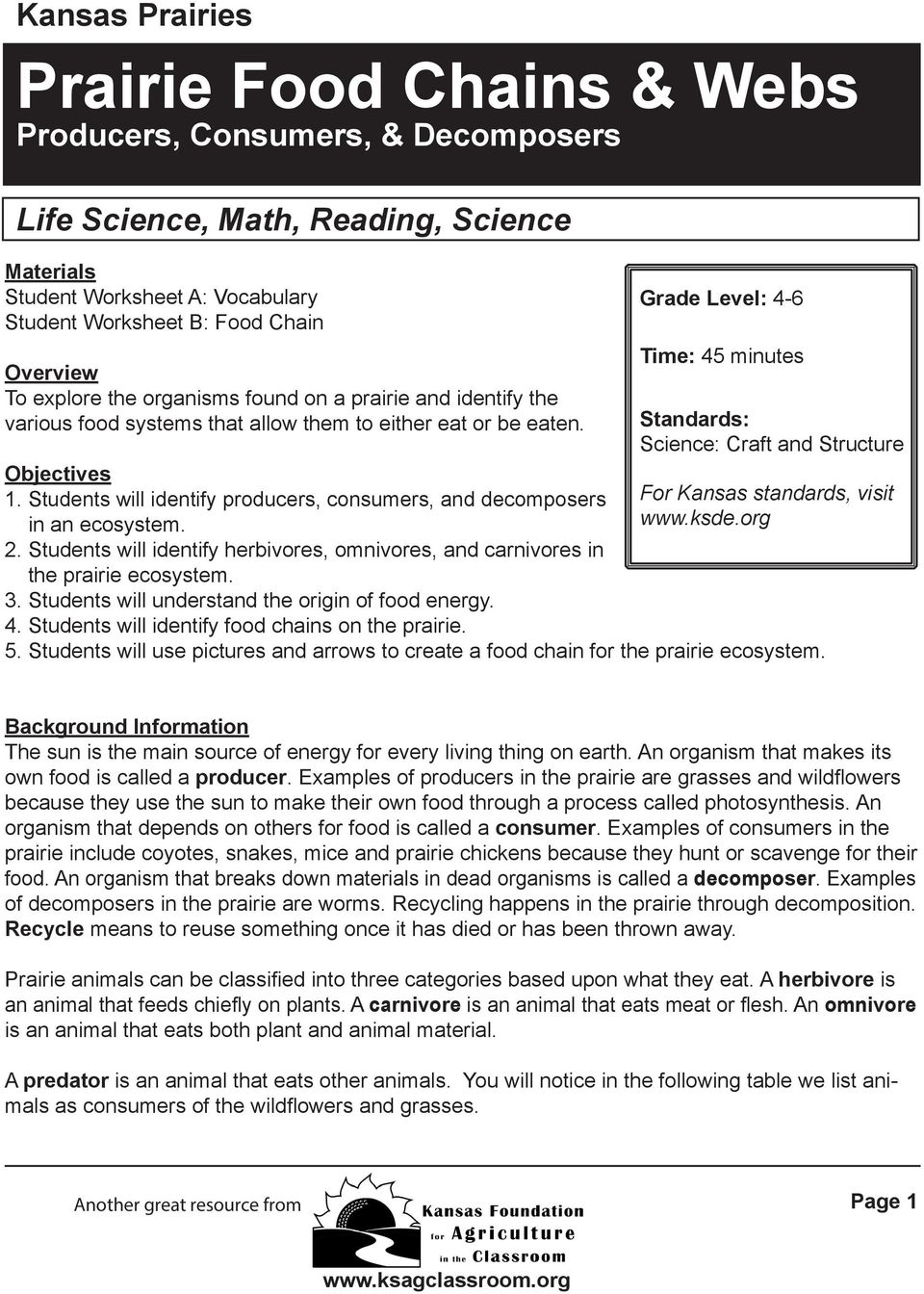 Worksheets Producers Consumers And Decomposers Worksheet prairie food chains webs producers consumers decomposers pdf grade level 4 6 time 45 minutes standards science craft and