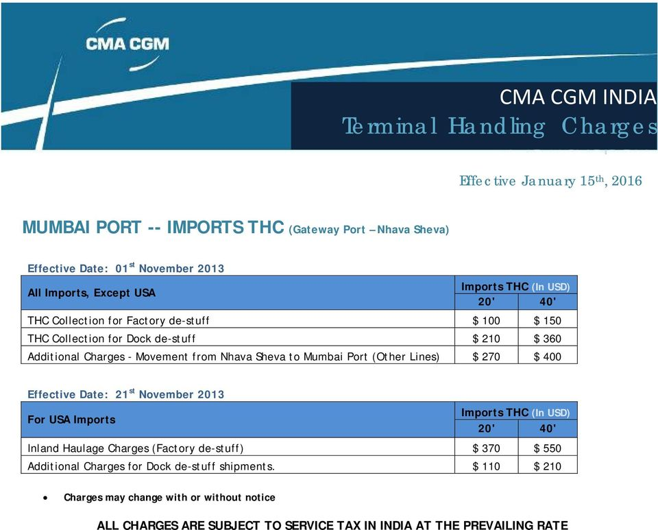 CMA CGM INDIA Terminal Handling Charges - PDF