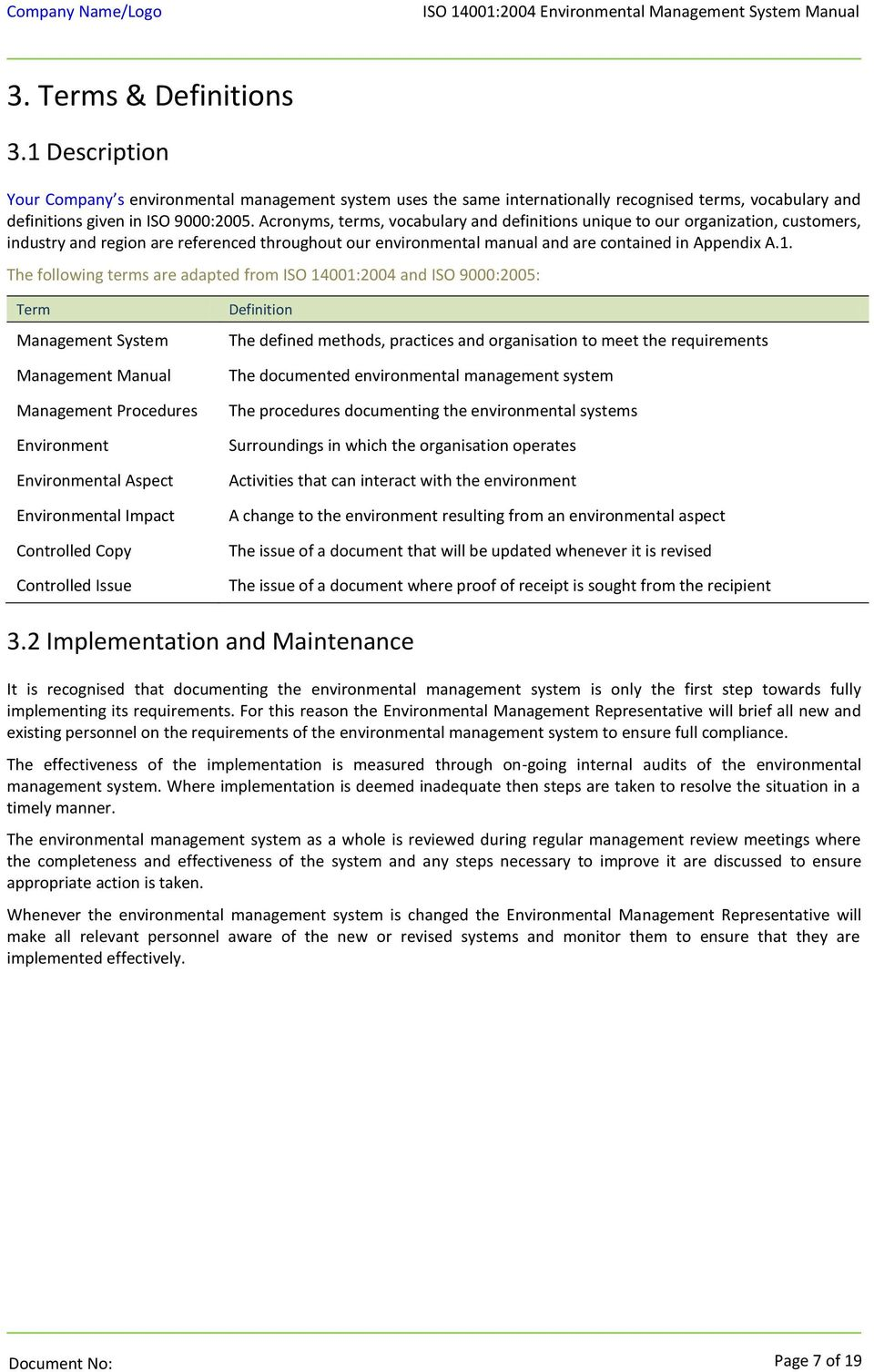 ISO 14001:2004 Environmental Management System Manual - PDF