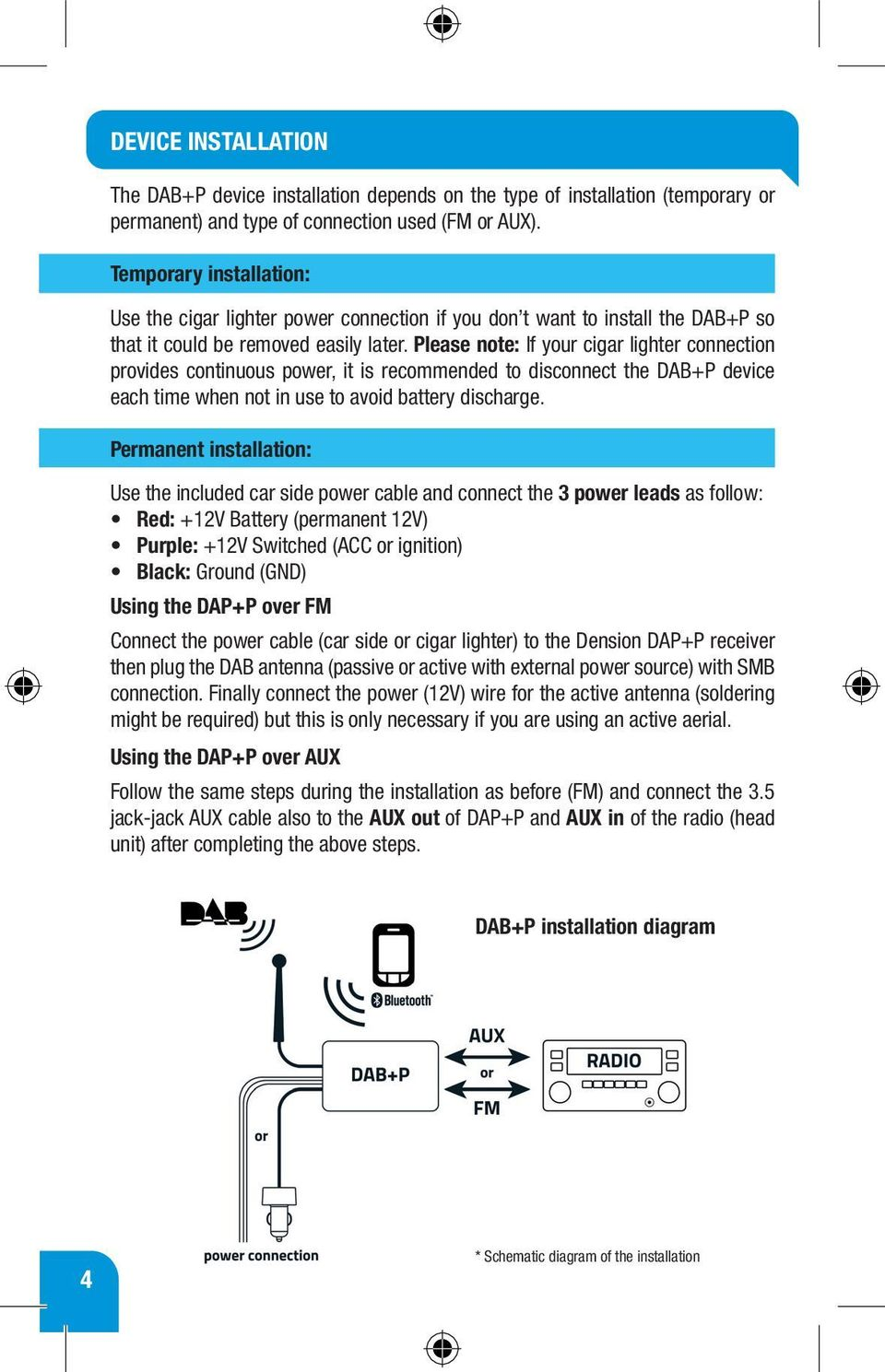 Dab P Smart Radio Receiver Quick Start Guide Pdf Aux Cable Schematic Please Note If Your Cigar Lighter Connection Provides Continuous Power It Is Recommended To