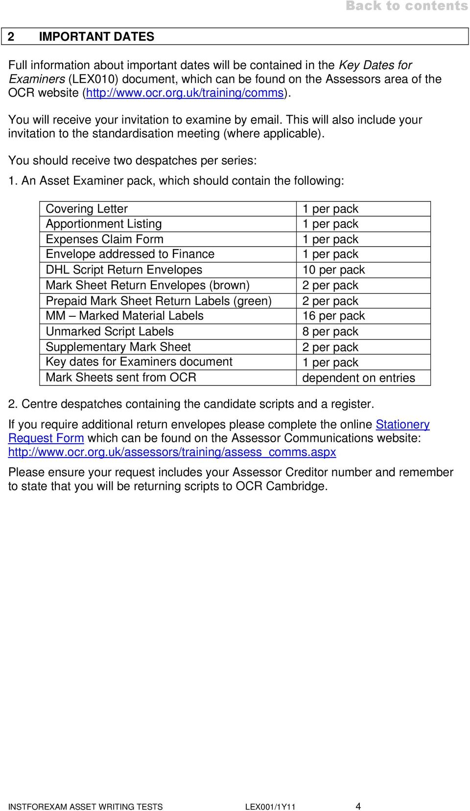 Instructions For Examiners Pdf Free Download