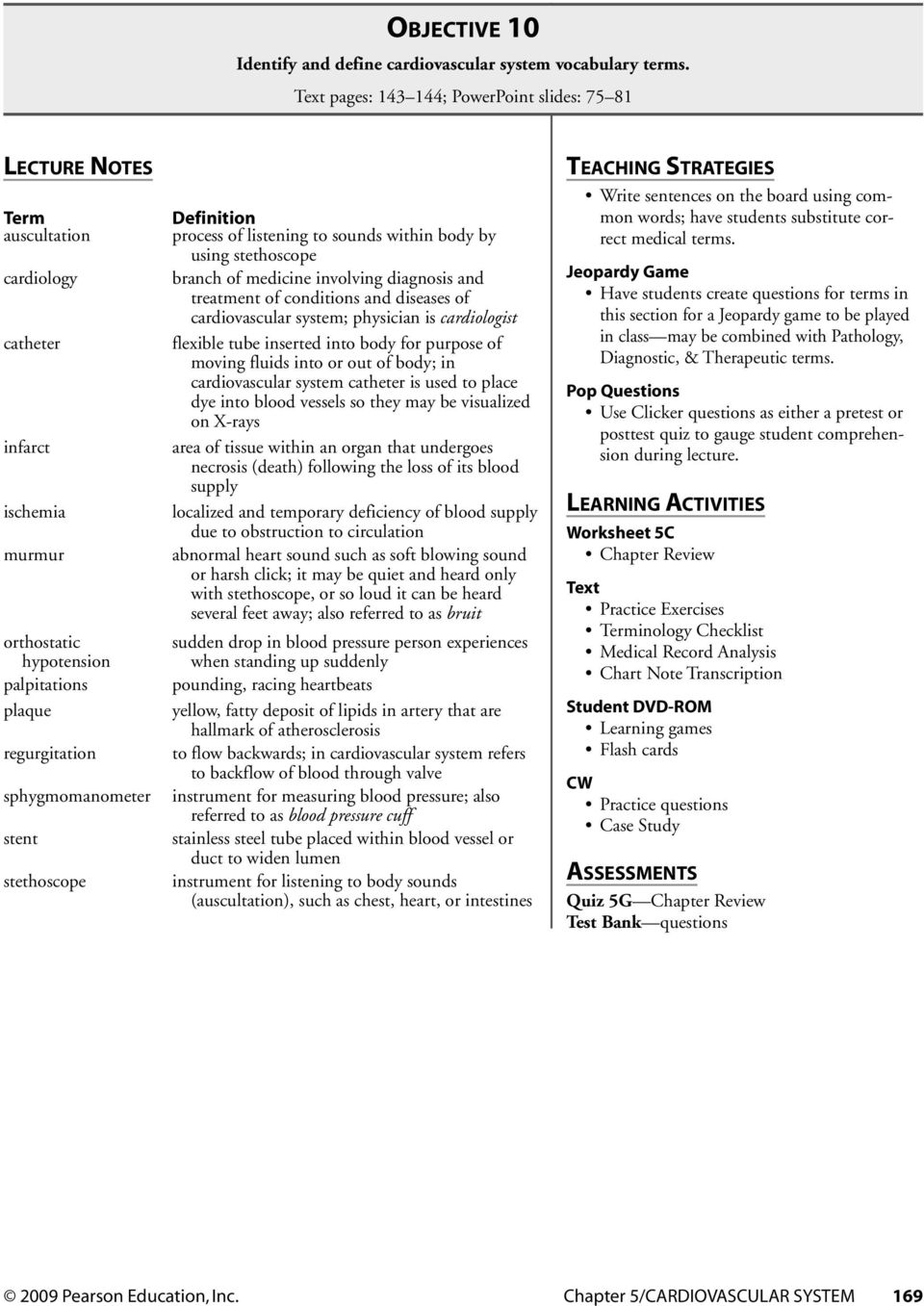 C Hapter 5 Cardiovascular System Chapter Contents Media Library