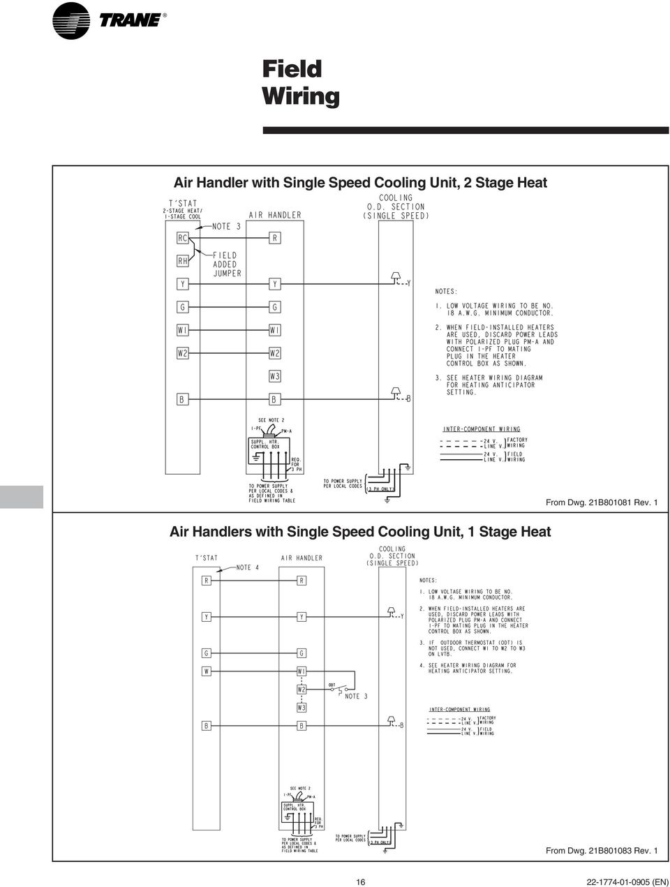 Cooling Heat Pump Convertible Air Handlers Pdf Thermostat 2 1 Wiring Diagram With Single Speed Unit 17 Field Diagrams