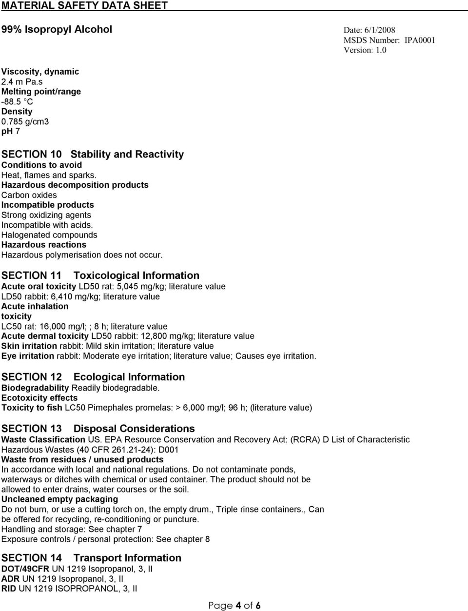 Material Safety Data Sheet 99 Isopropyl Alcohol Date 6 1 2008 Msds Number Ipa0001 Version Pdf Free Download