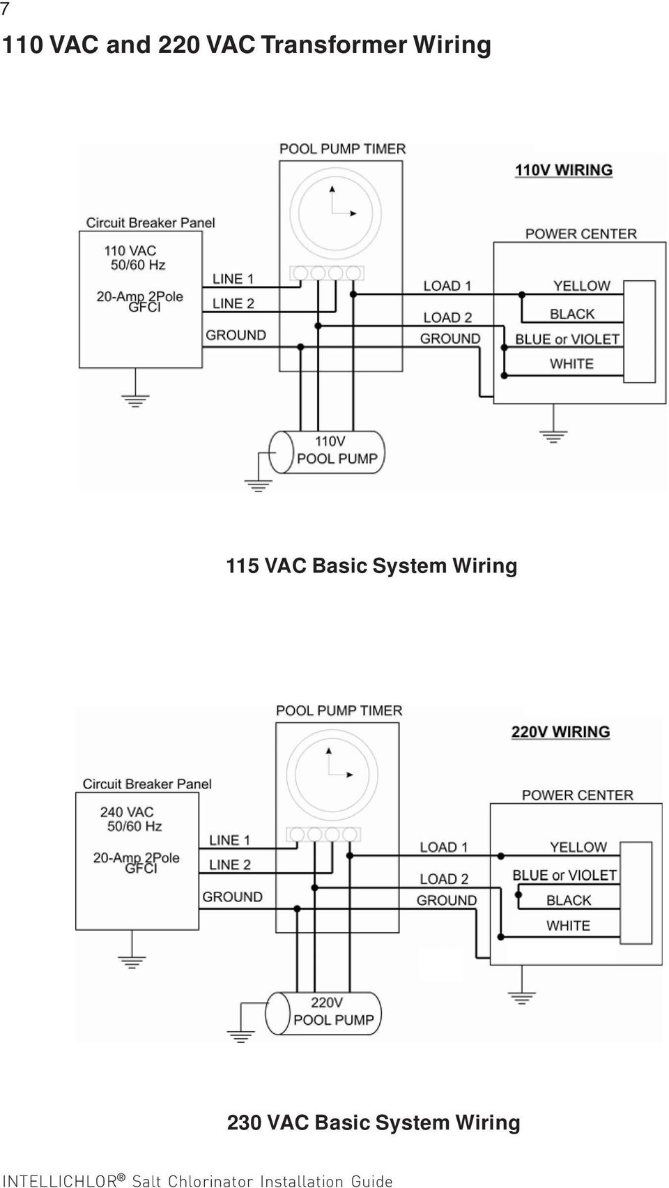 Intellichlor Power Center For Use With Intellilchlor Chlorine Pentair Pool Pump Wiring Diagram Vac Basic System